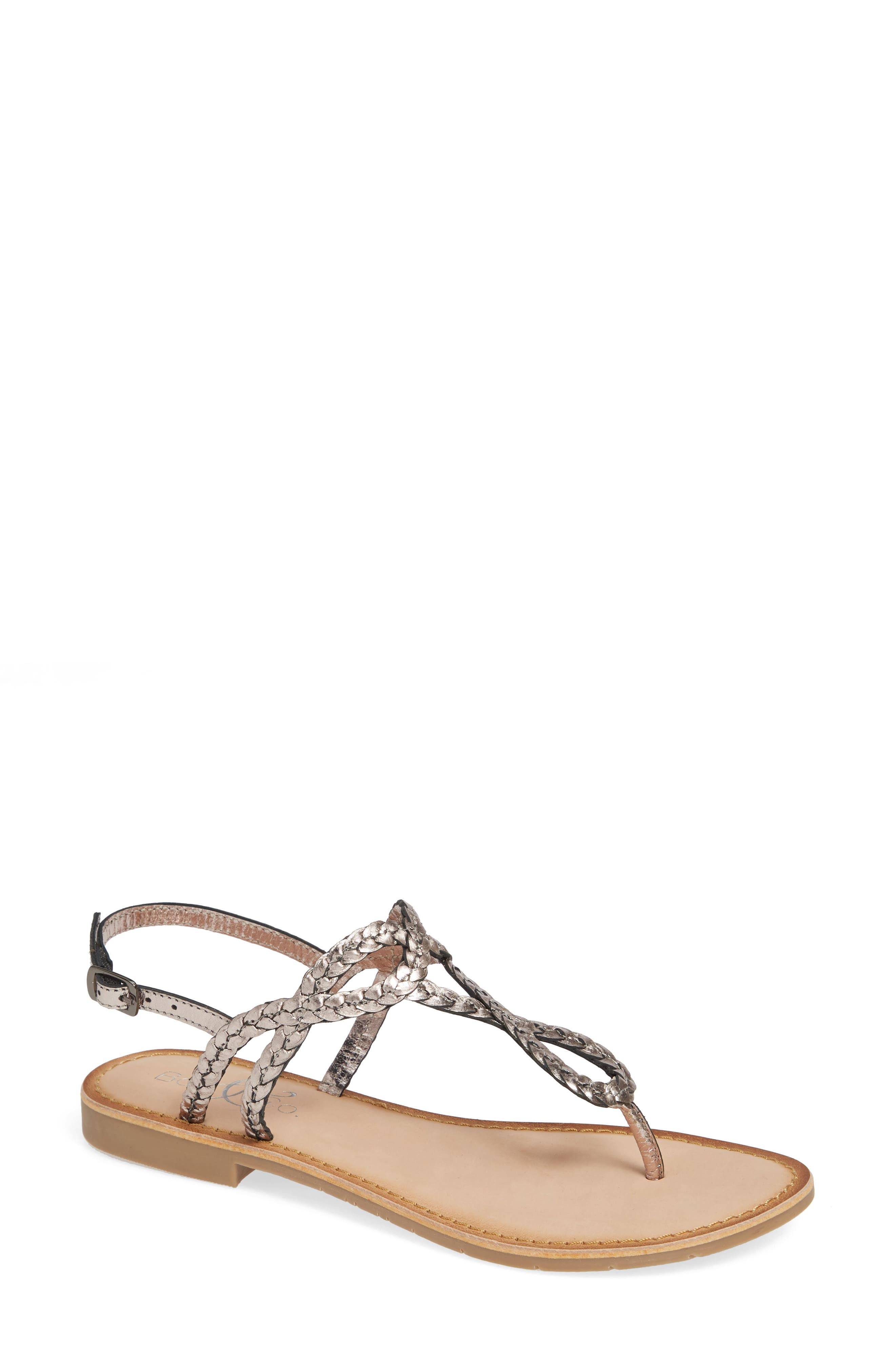 BOS. & CO. Gael Sandal, Main, color, PEWTER METALLIC LEATHER