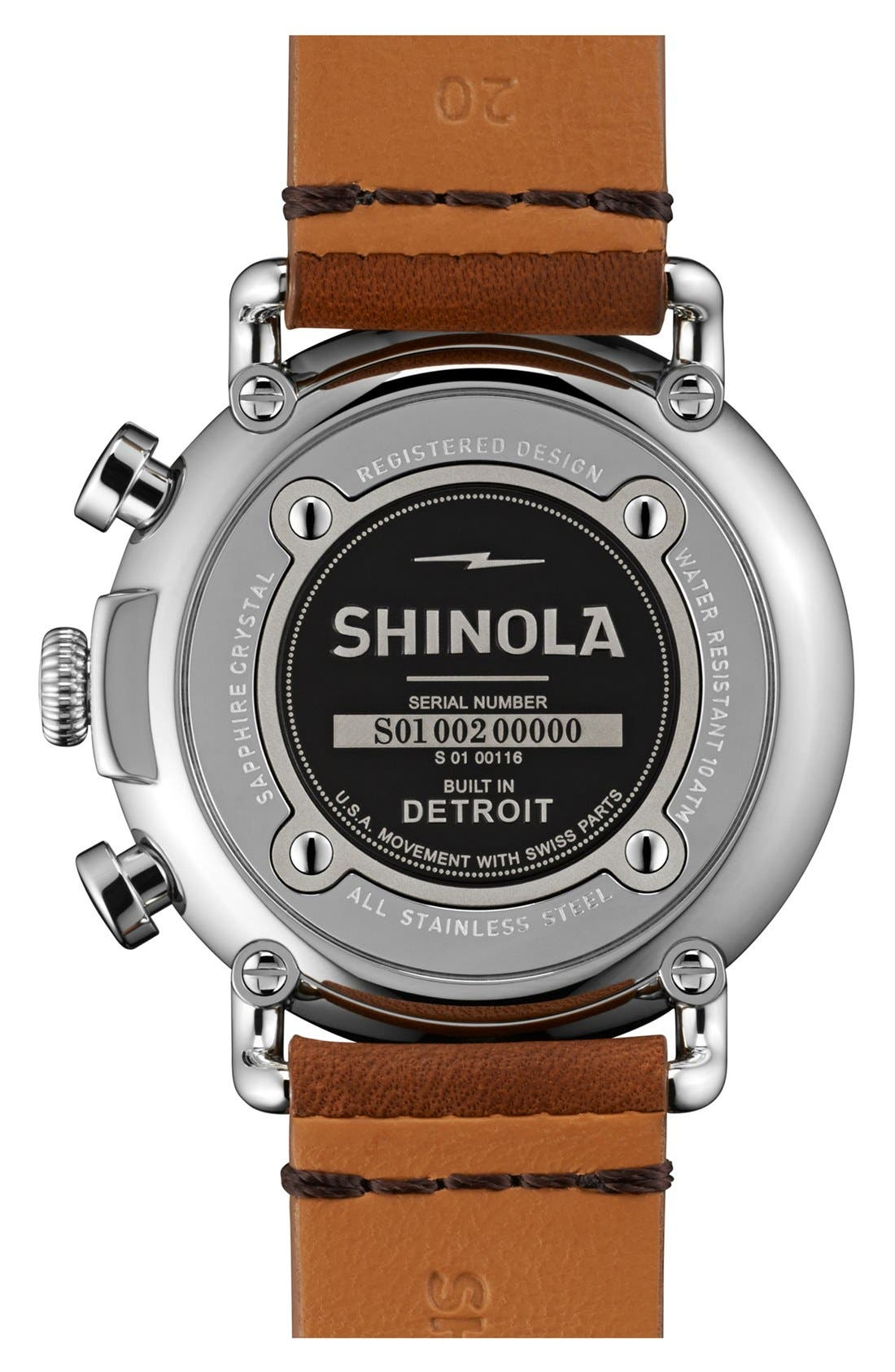 SHINOLA, 'The Runwell Chrono' Leather Strap Watch, 41mm, Alternate thumbnail 4, color, TAN/ BLACK