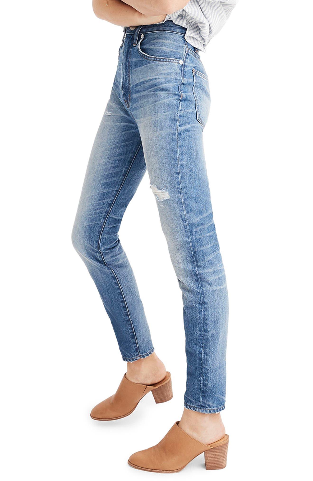 MADEWELL, Rigid High Waist Skinny Jeans, Alternate thumbnail 2, color, NAPA