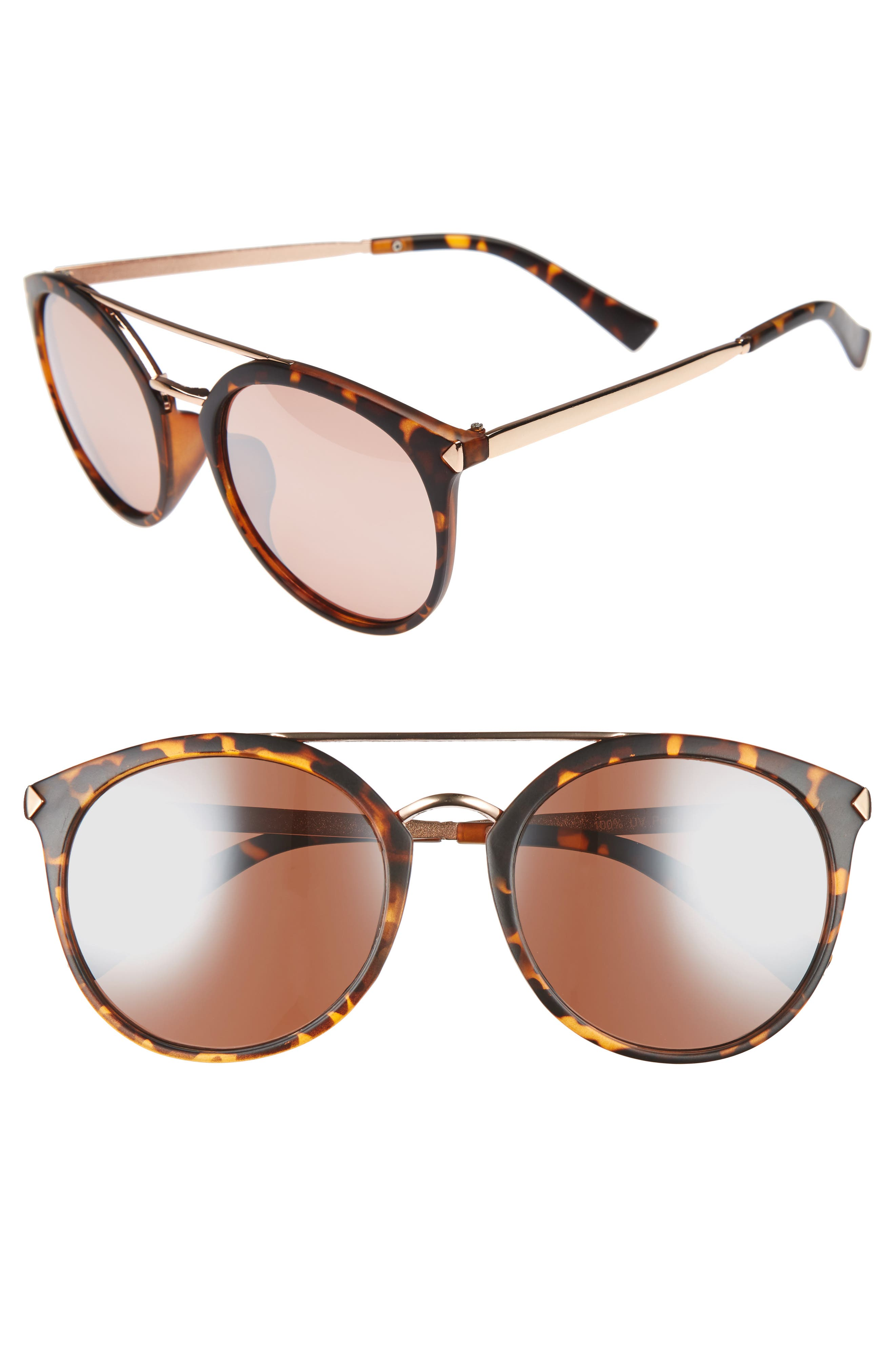 BP., 55mm Mirrored Sunglasses, Main thumbnail 1, color, TORT/ ROSE GOLD
