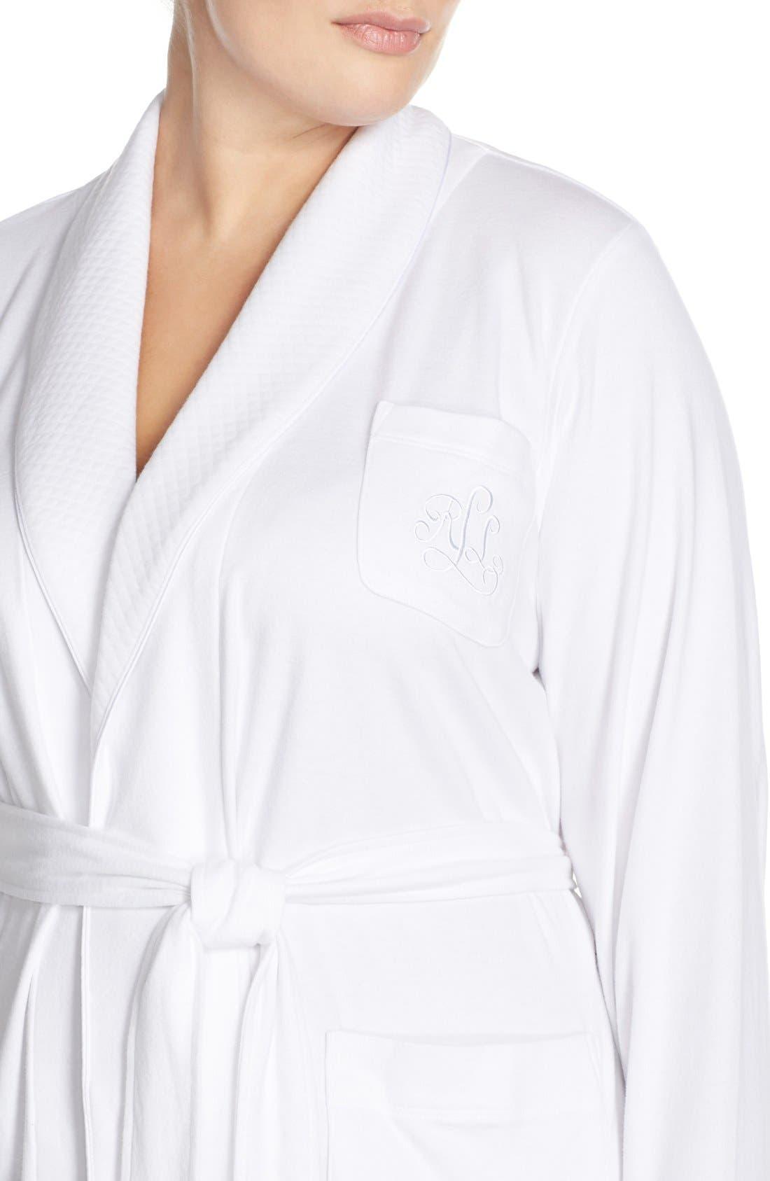 LAUREN RALPH LAUREN, Shawl Collar Robe, Alternate thumbnail 5, color, WHITE