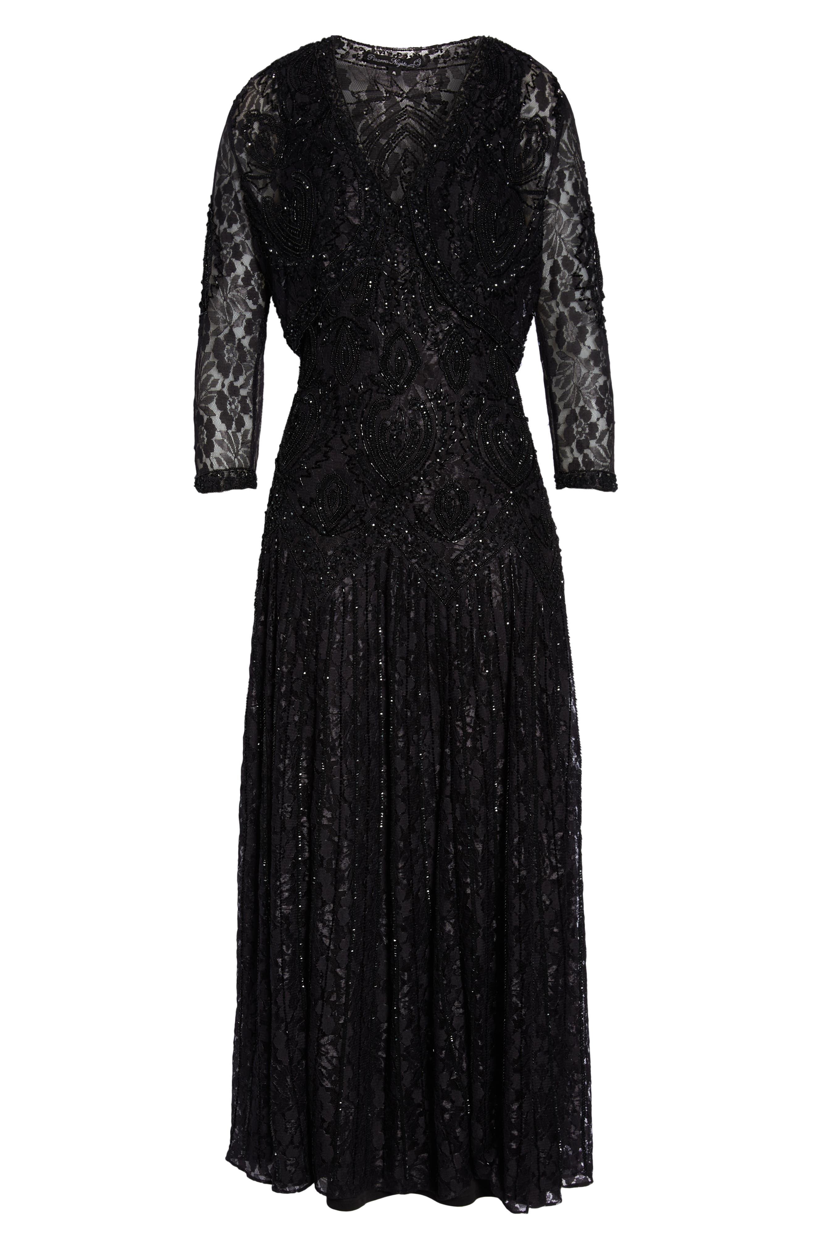 PISARRO NIGHTS, Beaded Lace Evening Dress with Bolero, Alternate thumbnail 7, color, BLACK