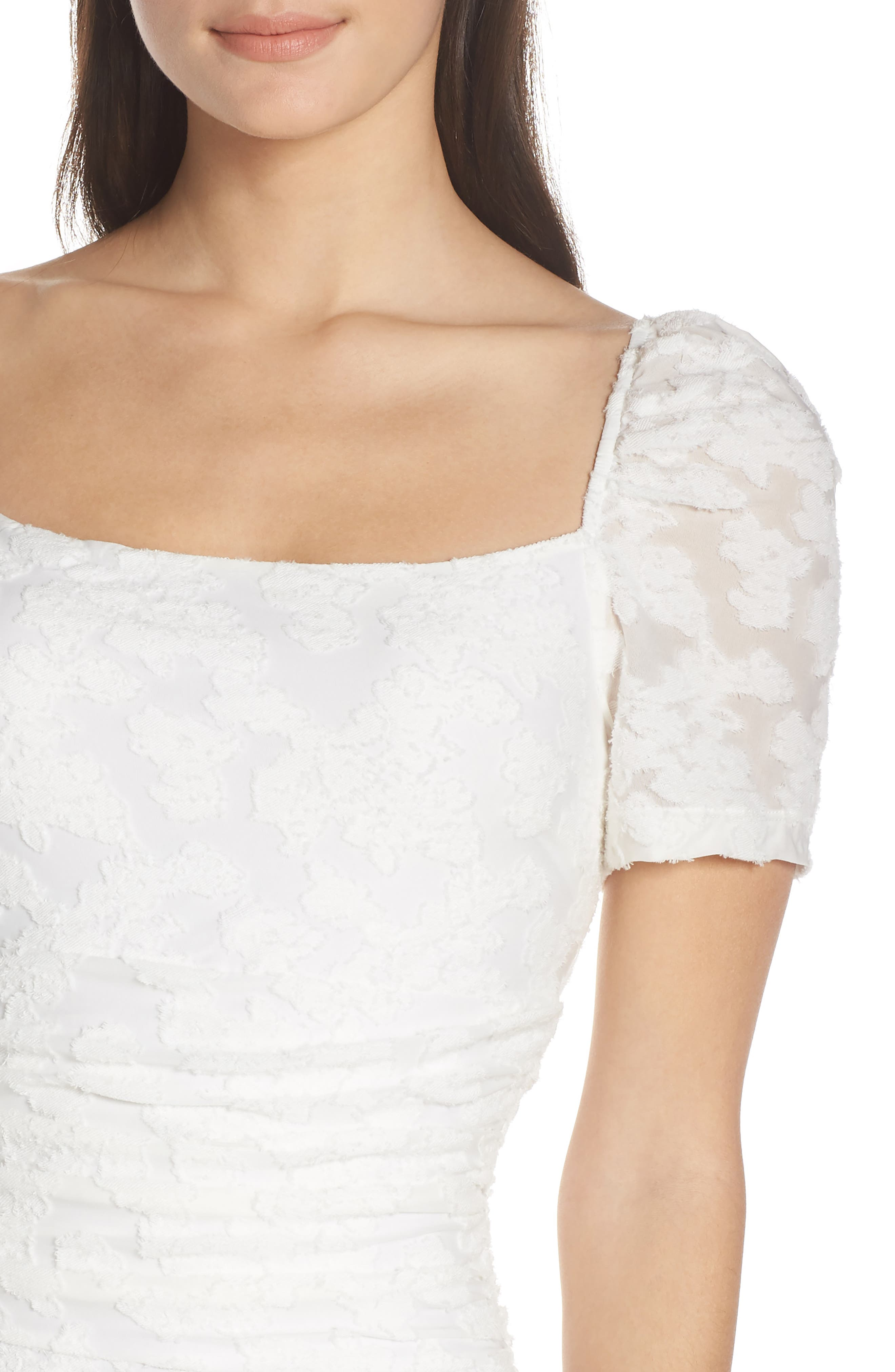 ALI & JAY, Big Mistake Short Sleeve Sheath Dress, Alternate thumbnail 5, color, WHITE FLORAL