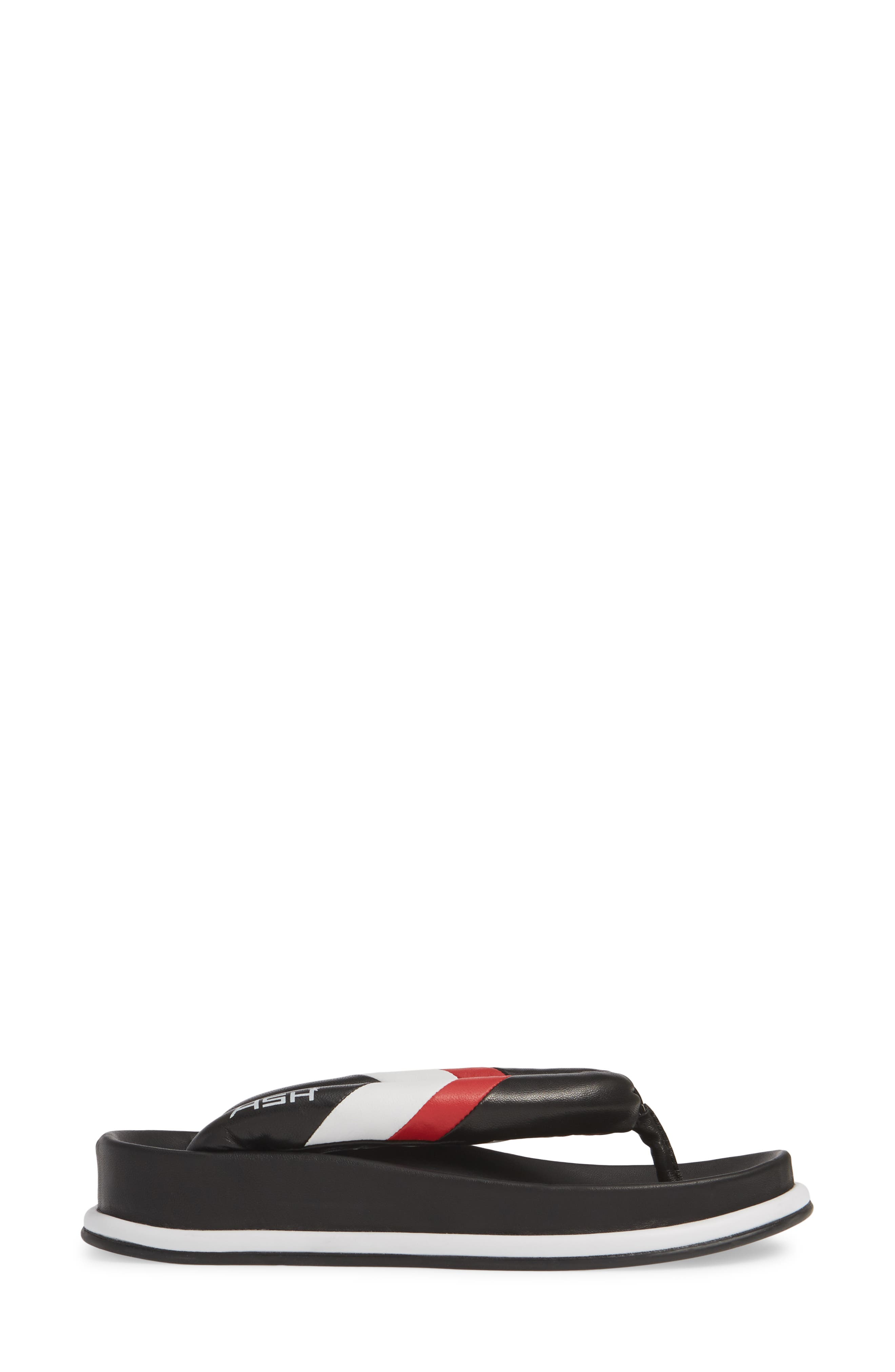 ASH, Tonic Stripe Logo Flip Flop, Alternate thumbnail 3, color, BLACK