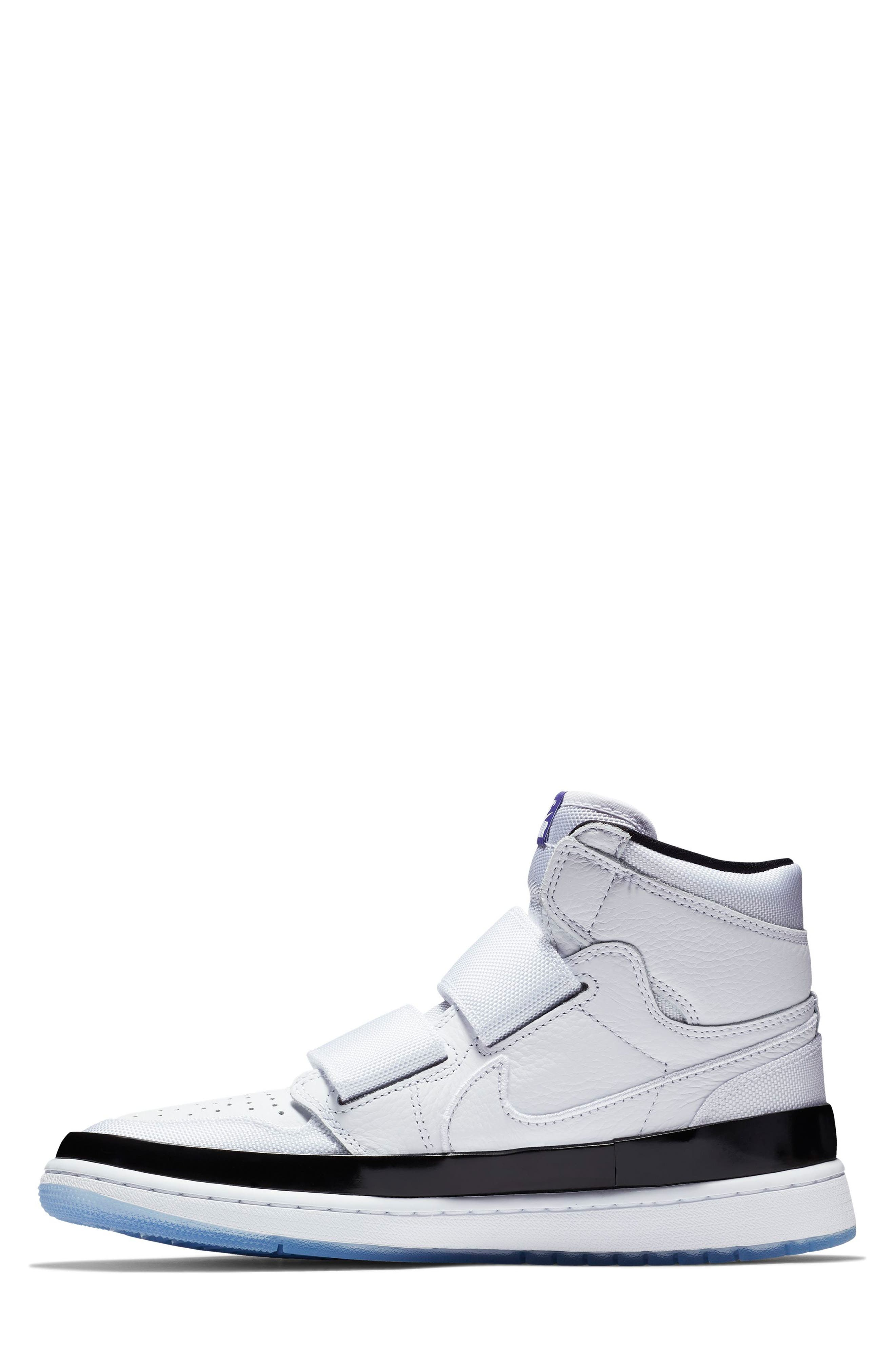 NIKE, Air Jordan 1 Retro High Double Strap Sneaker, Alternate thumbnail 6, color, WHITE/ DARK CONCORD/ BLACK