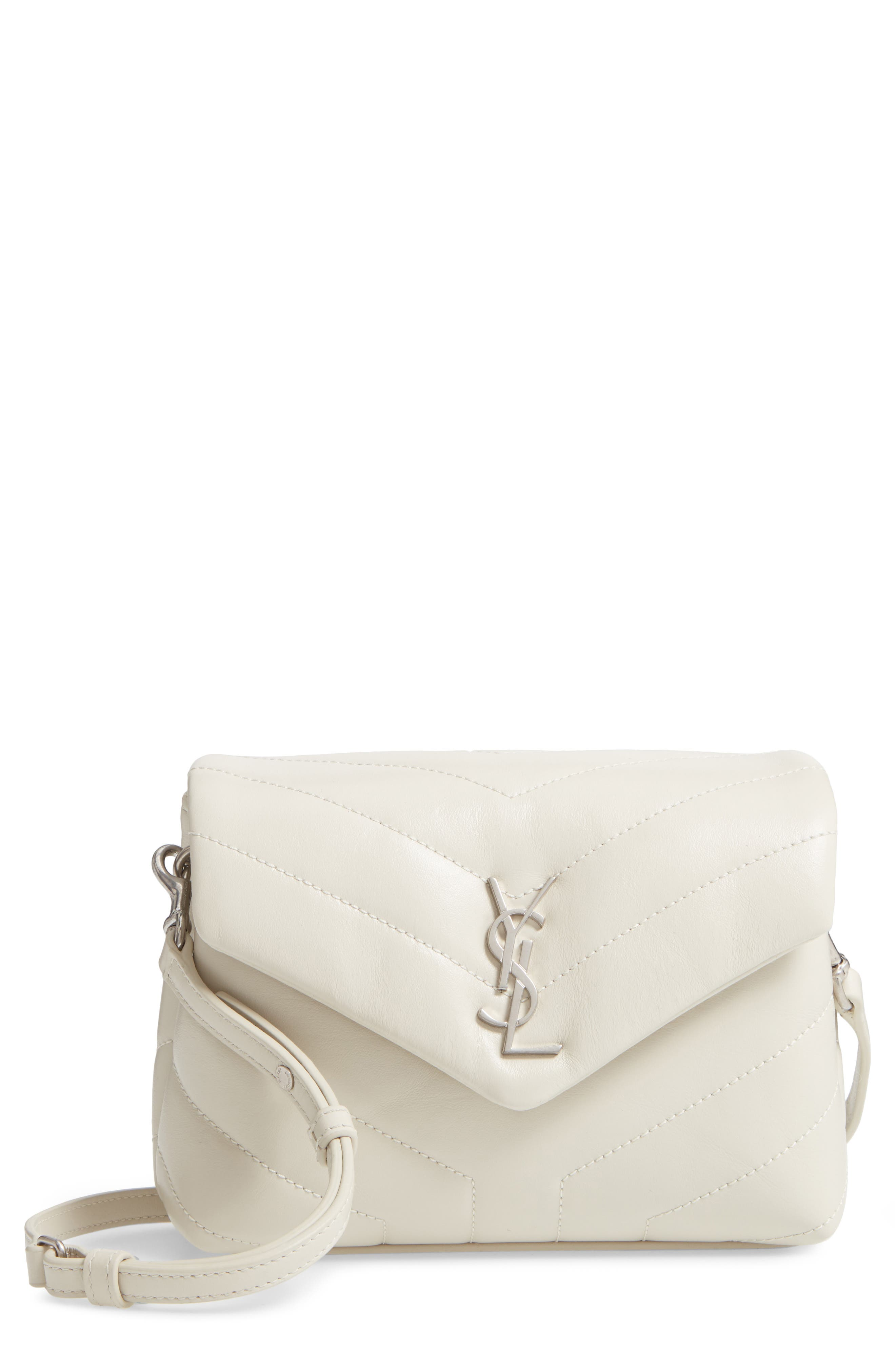 SAINT LAURENT, Toy Loulou Calfskin Leather Crossbody Bag, Main thumbnail 1, color, CREMA SOFT