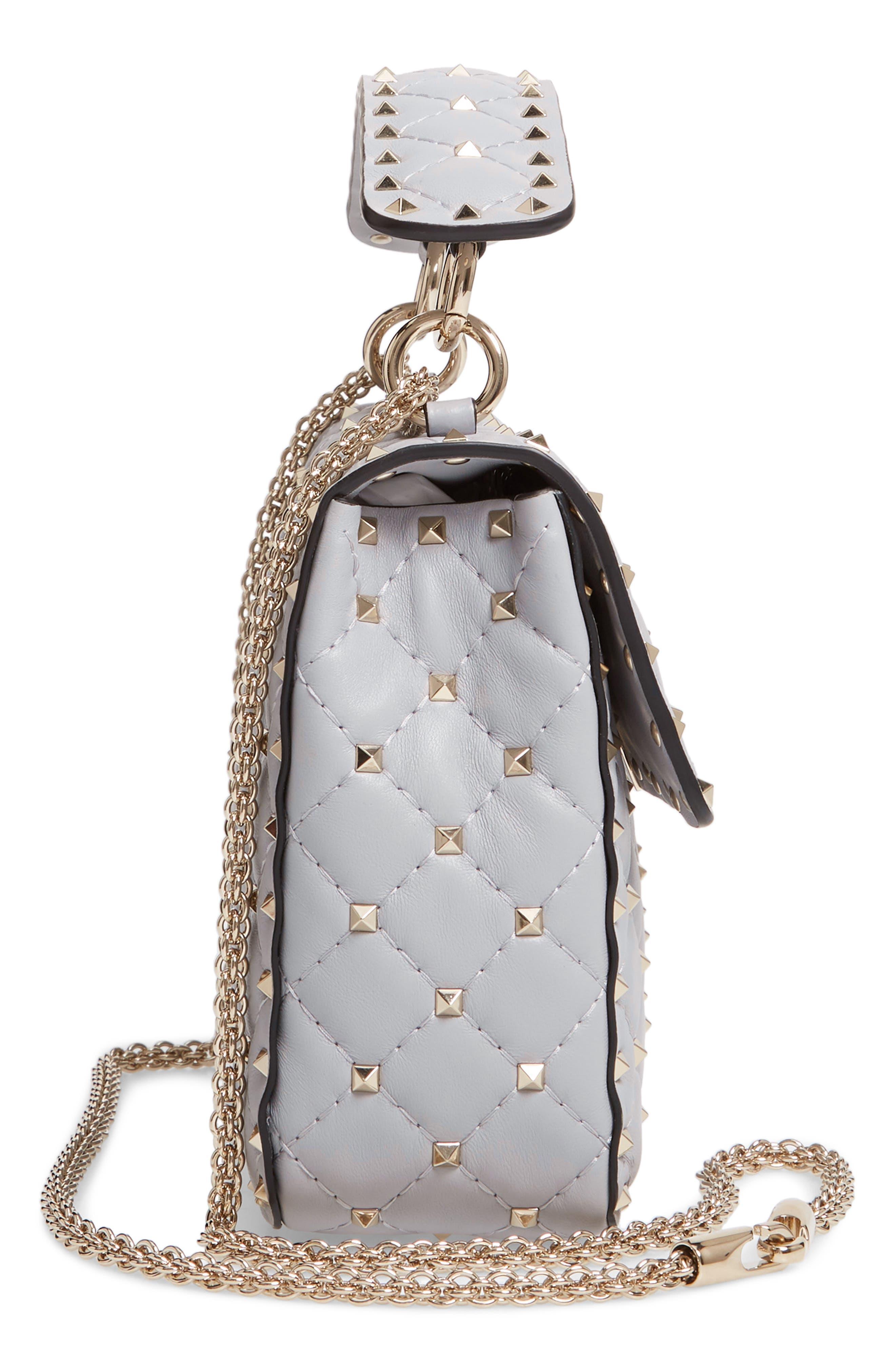 VALENTINO GARAVANI, Medium Rockstud Matelassé Quilted Leather Crossbody Bag, Alternate thumbnail 7, color, PASTEL GREY