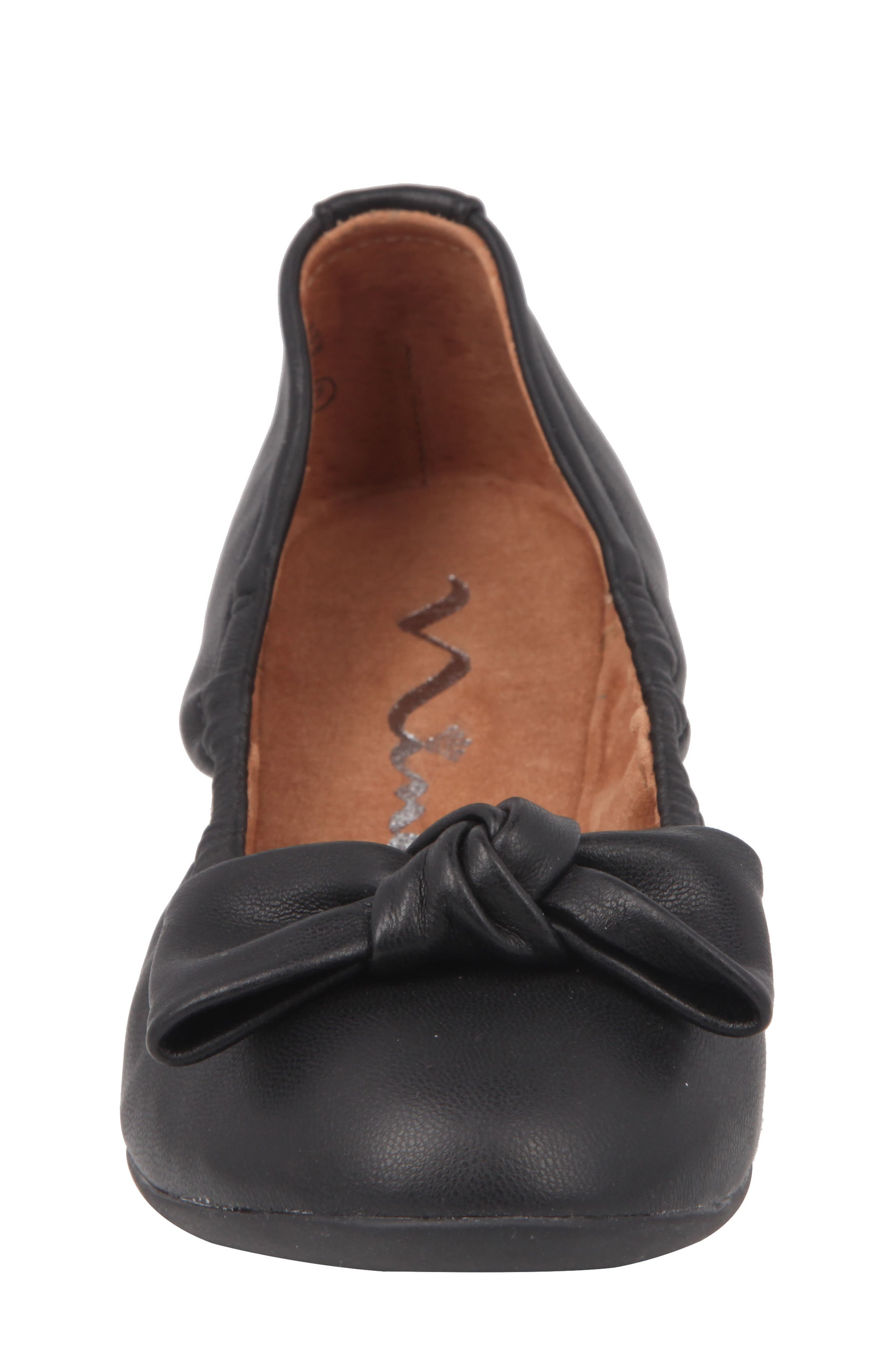 NINA, Karla Bow Ballet Flat, Alternate thumbnail 4, color, BLACK SMOOTH LEATHER