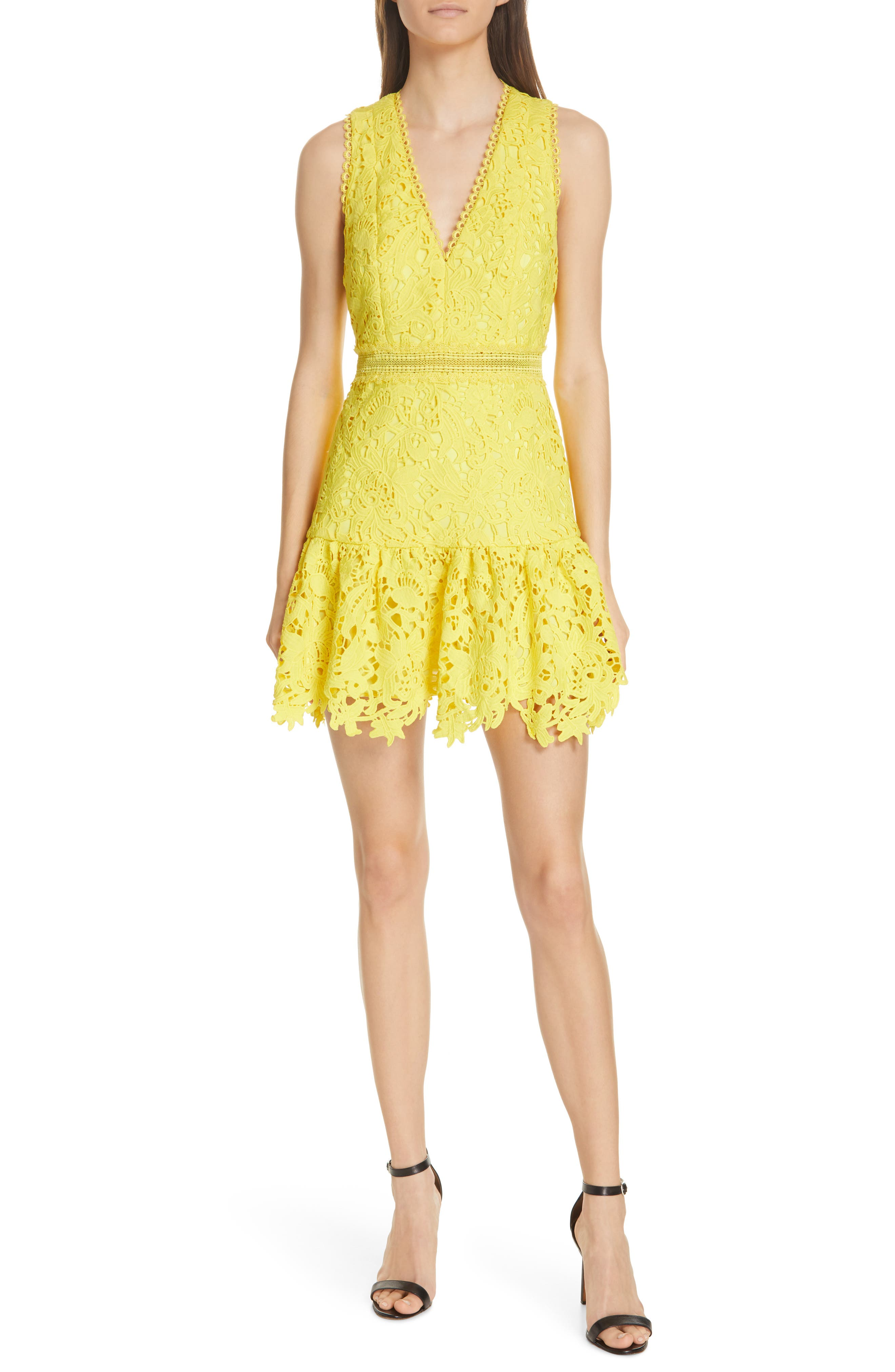 Alice + Olivia Marleen Fit & Flare Lace Dress, Yellow