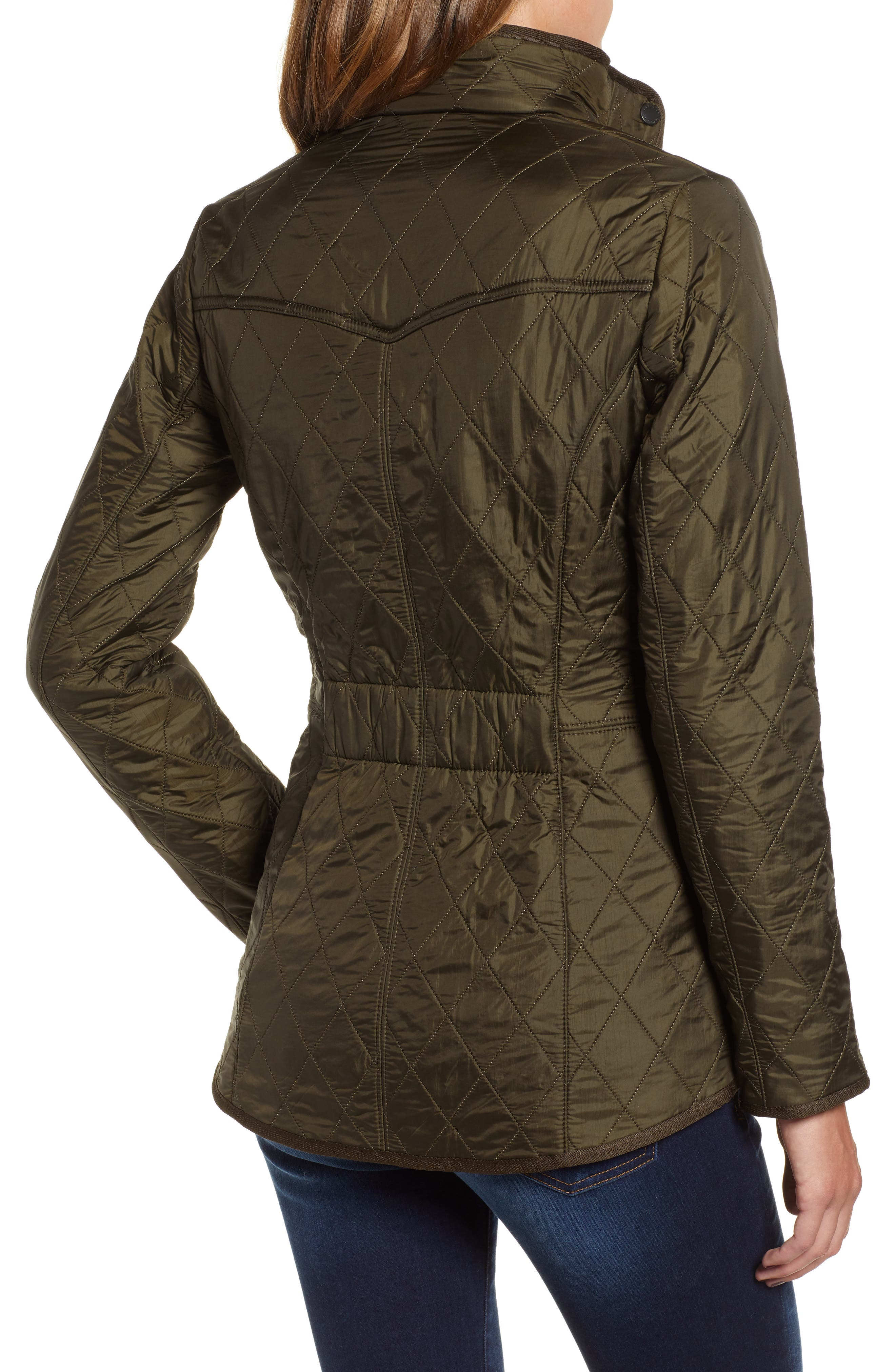 BARBOUR, 'Cavalry' Quilted Jacket, Alternate thumbnail 2, color, DARK OLIVE/ OLIVE