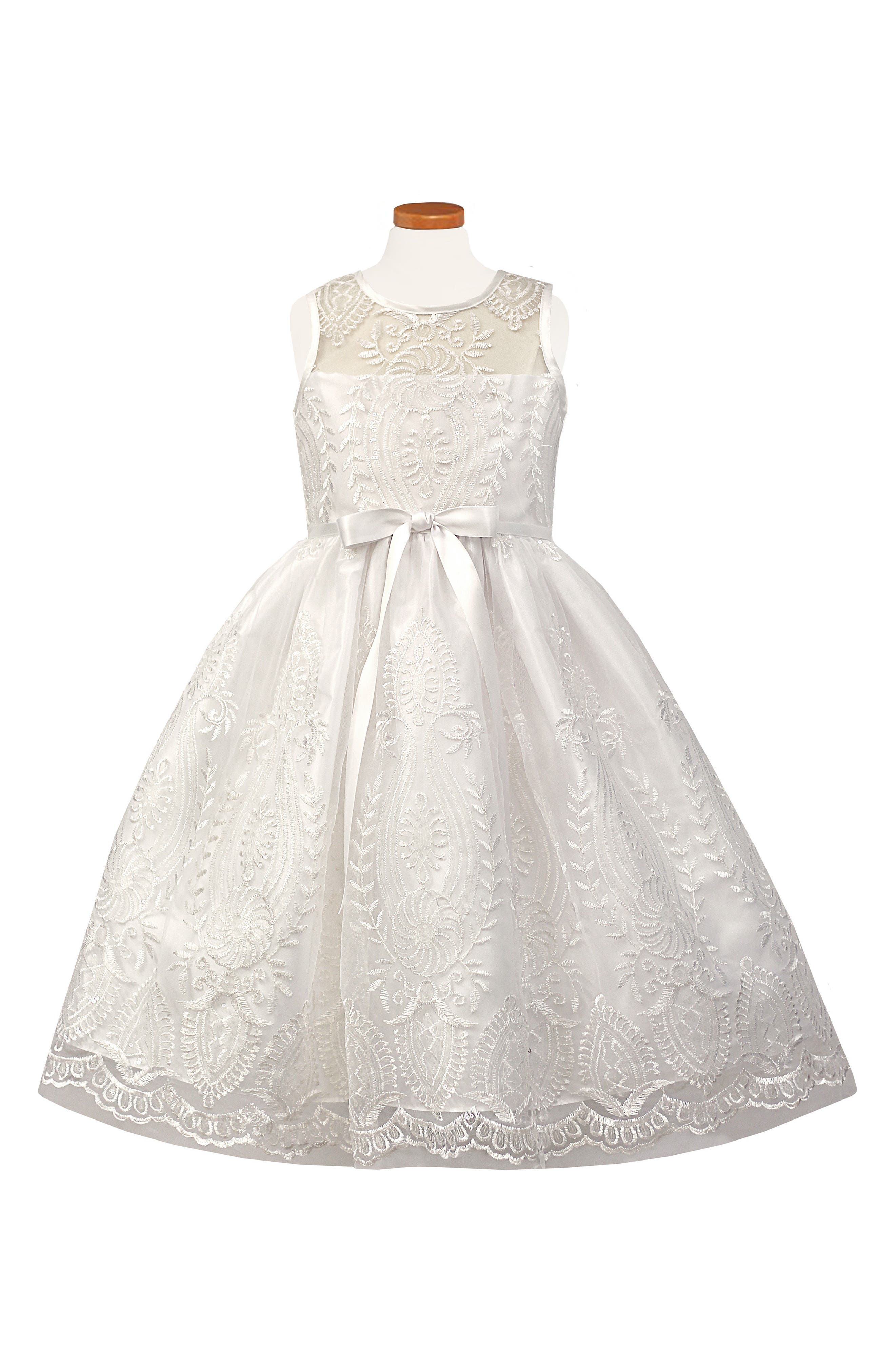 SORBET, Embroidered First Communion Dress, Main thumbnail 1, color, WHITE