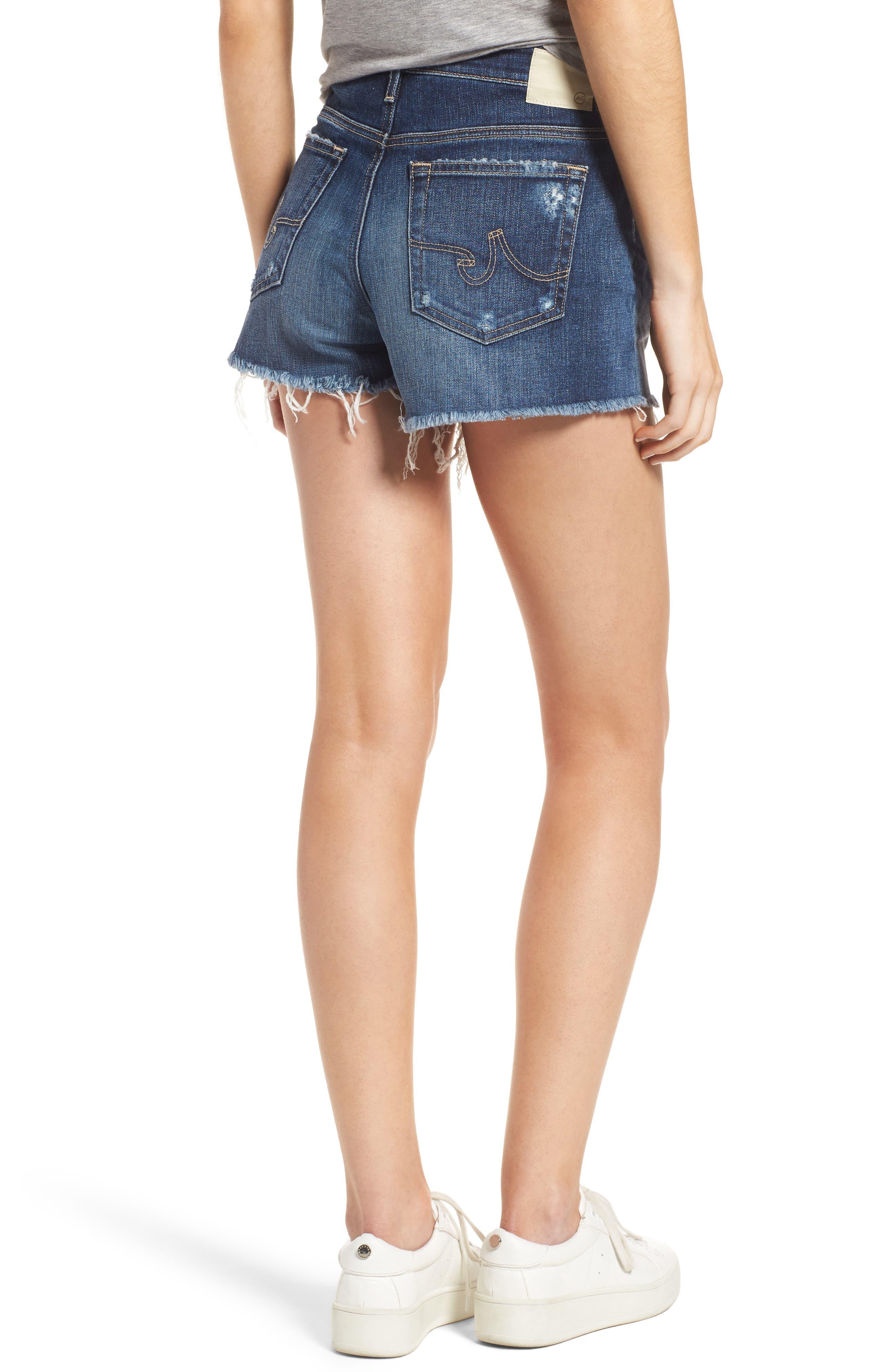 AG, Bryn High Rise Cutoff Denim Shorts, Alternate thumbnail 2, color, 15Y BLUE DELUGE