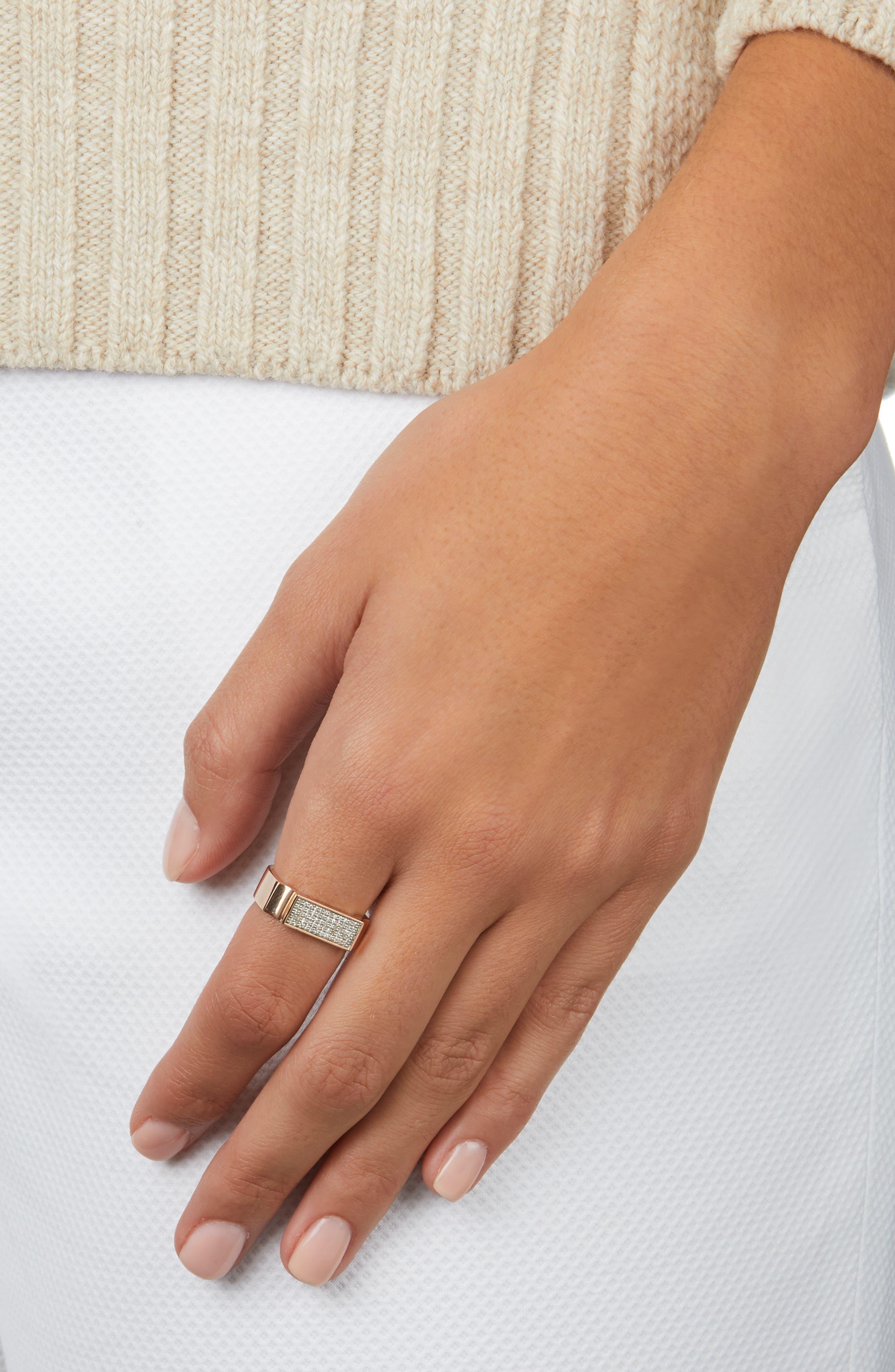 MONICA VINADER, Diamond Signature Wide Ring, Alternate thumbnail 2, color, ROSE GOLD/ DIAMOND