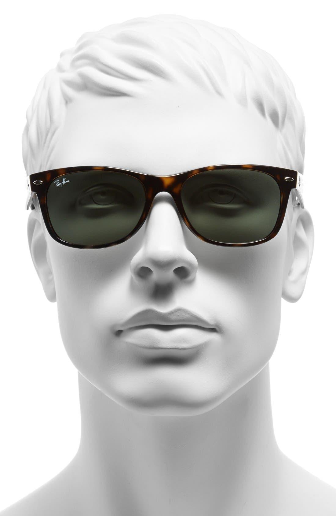 RAY-BAN, 'New Wayfarer' 55mm Sunglasses, Alternate thumbnail 4, color, TORTOISE/ GREEN