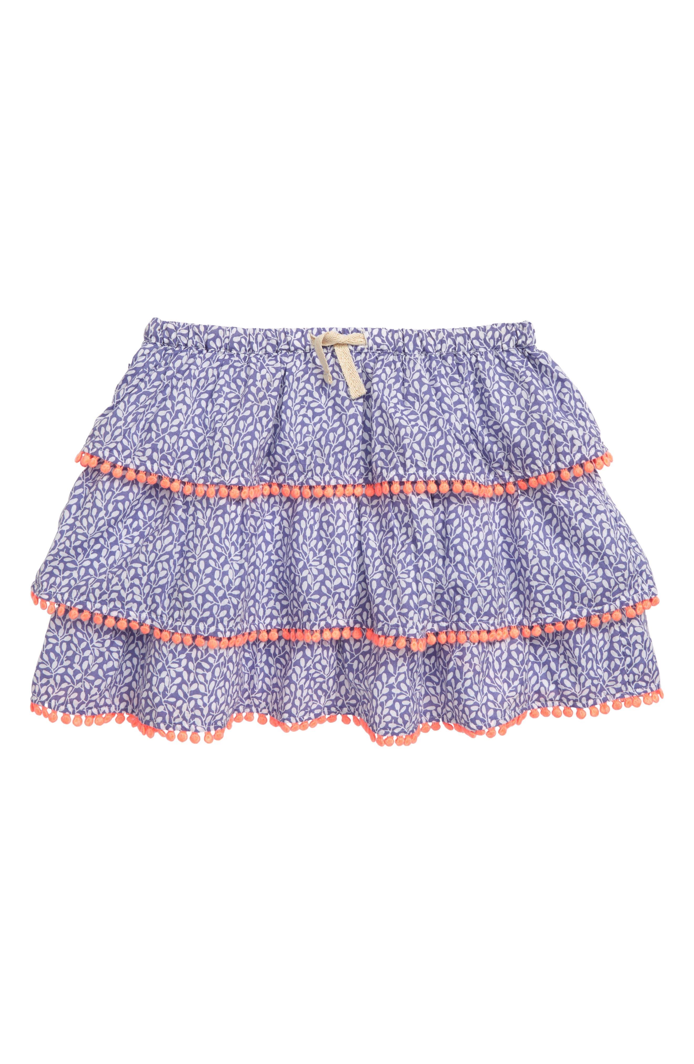Toddler Girls Mini Boden Print Ruffle Skirt Size 34Y  Purple
