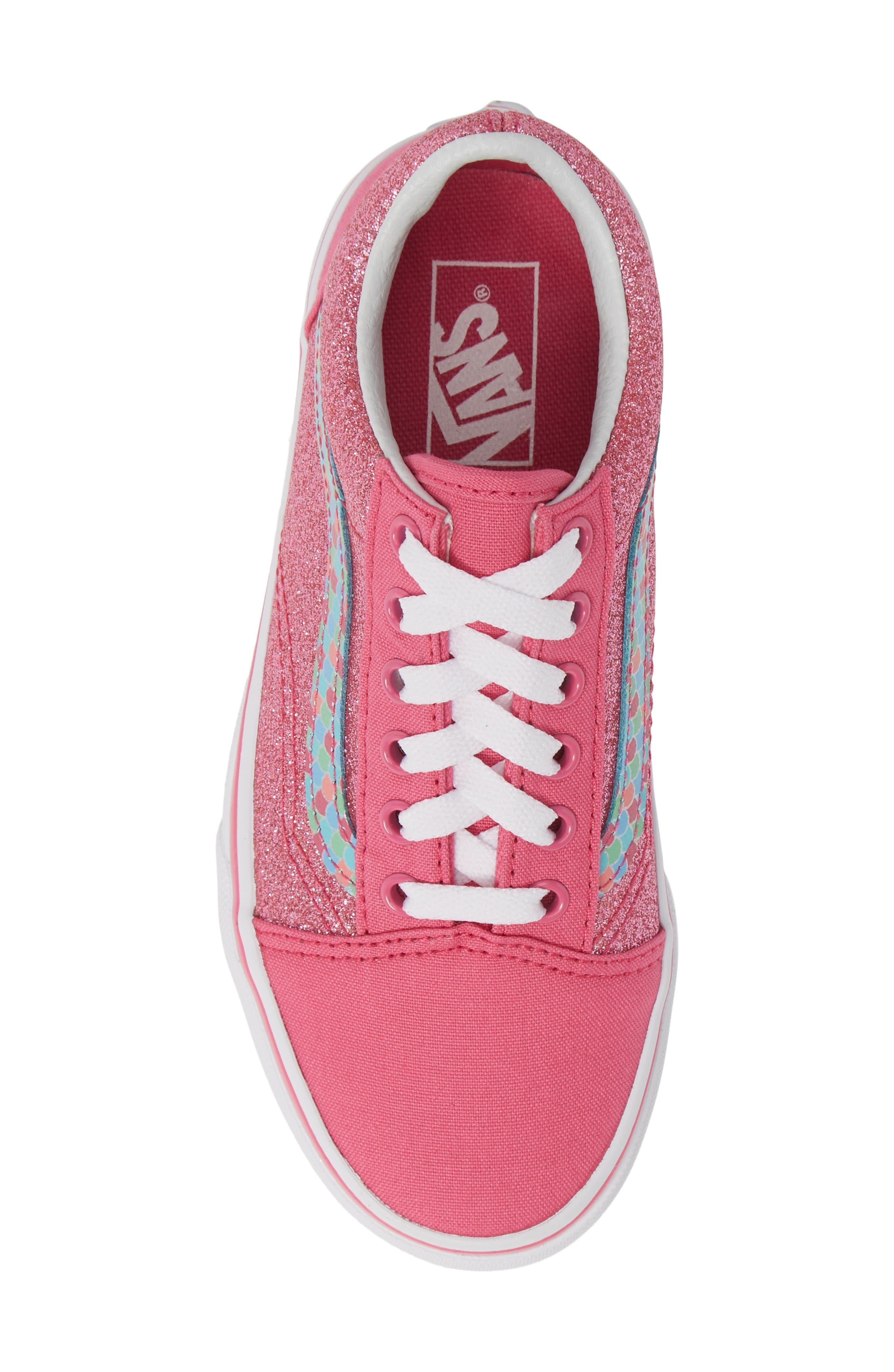 VANS, Old Skool Sneaker, Alternate thumbnail 5, color, CARMINE ROSE/ TRUE WHITE