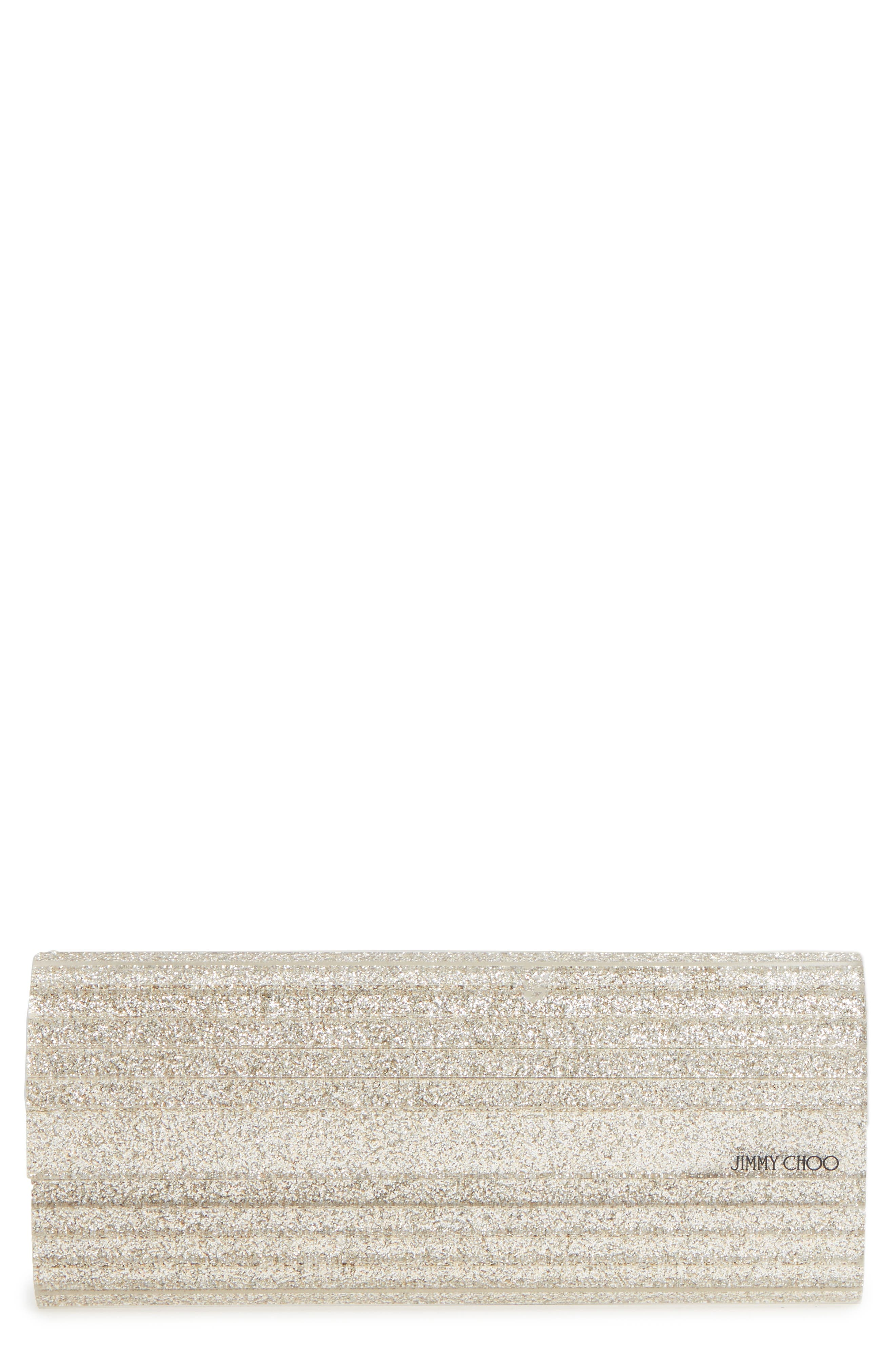 JIMMY CHOO 'Sweetie' Clutch, Main, color, CHAMPAGNE GLITTER