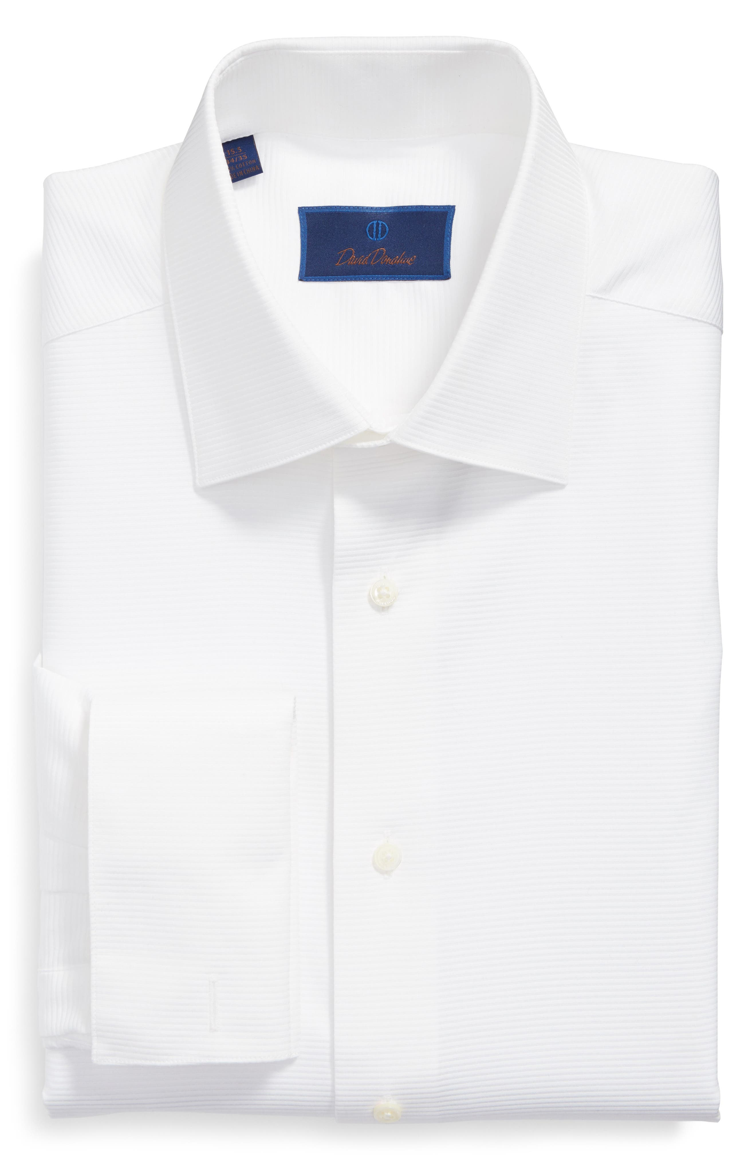 DAVID DONAHUE, Horizontal Twill Regular Fit Tuxedo Shirt, Alternate thumbnail 5, color, WHITE