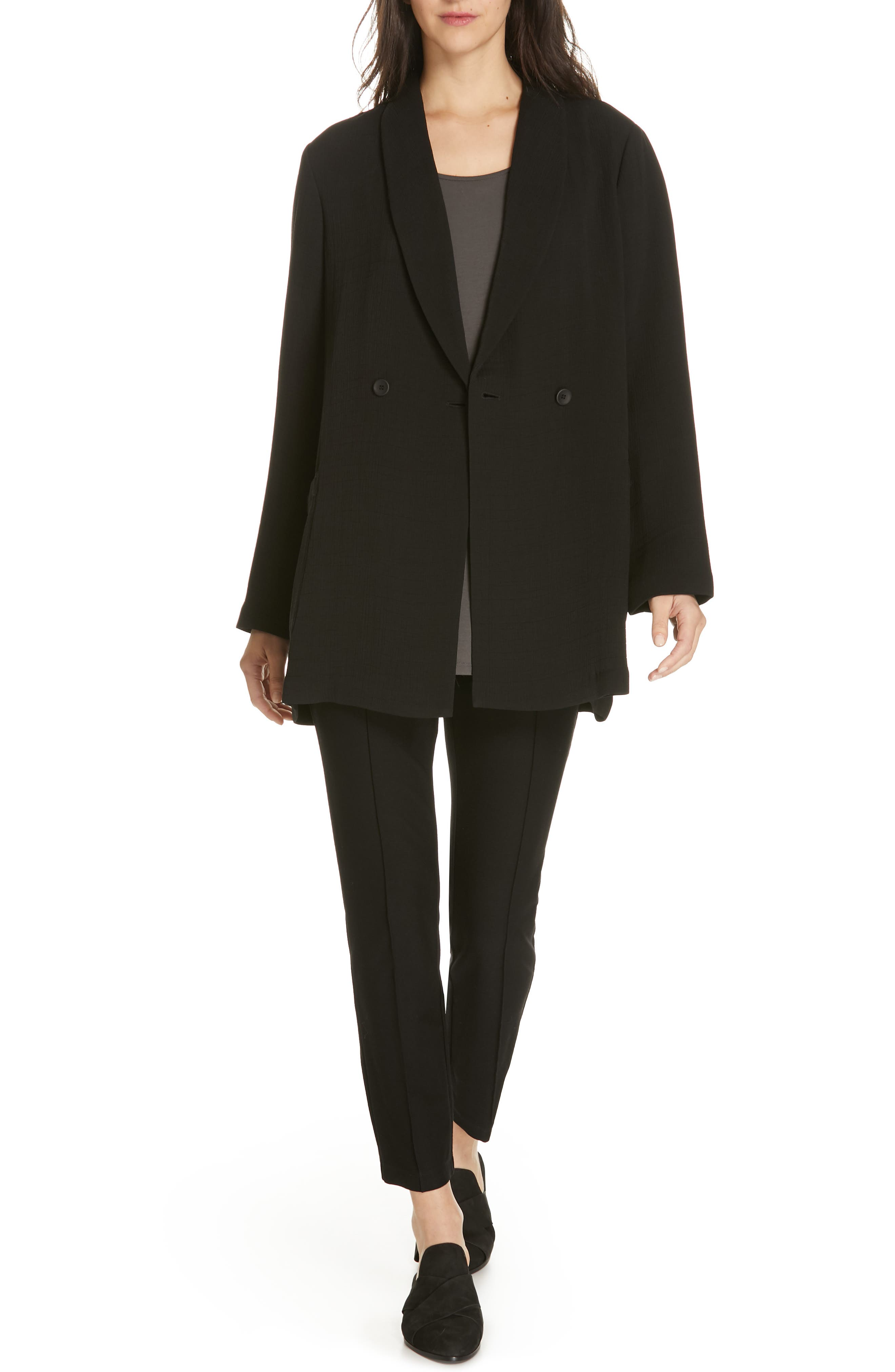 EILEEN FISHER, Double Breasted Blazer, Alternate thumbnail 7, color, BLACK