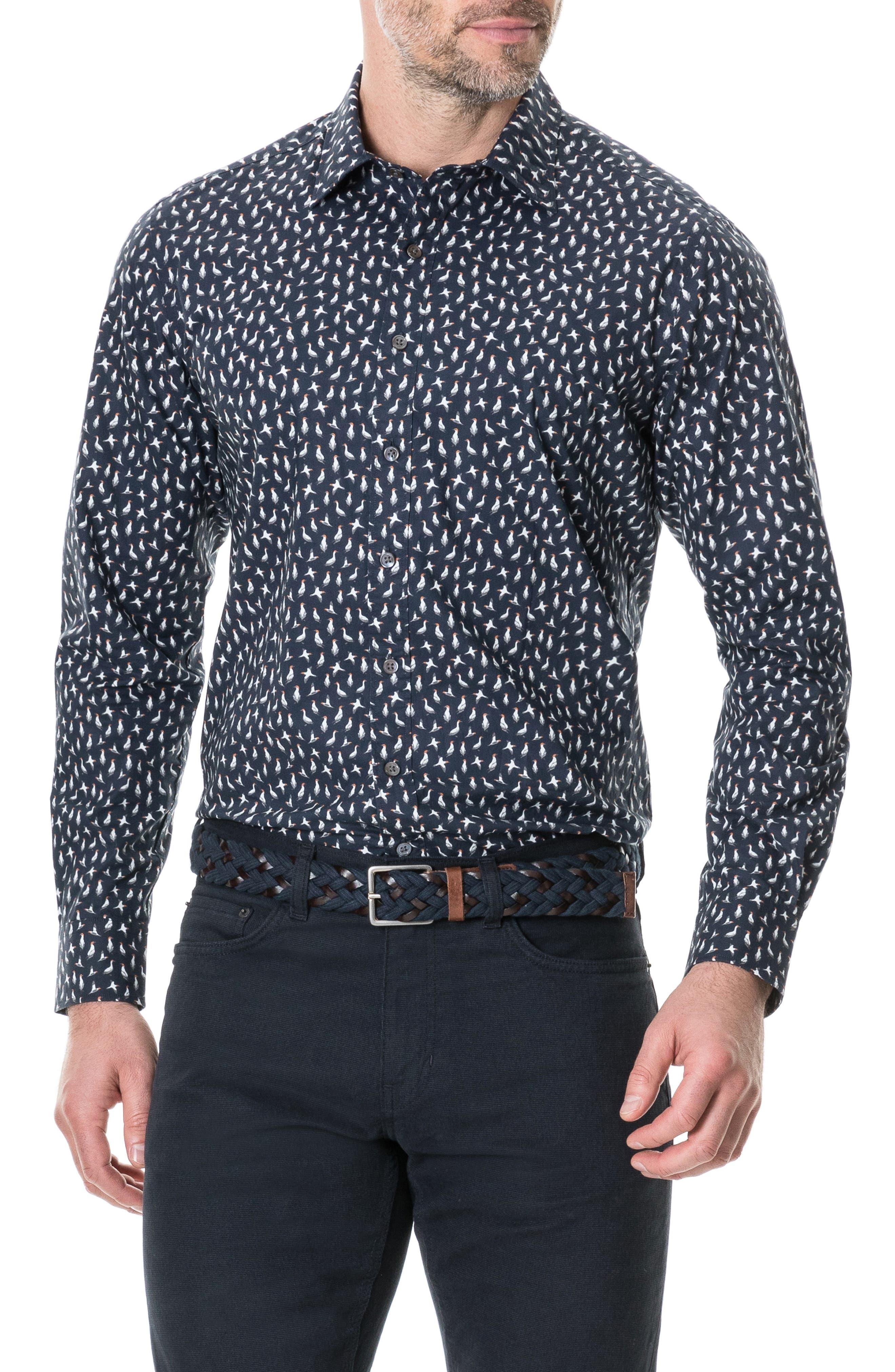 RODD & GUNN Dungaville Sport Shirt, Main, color, MARINE