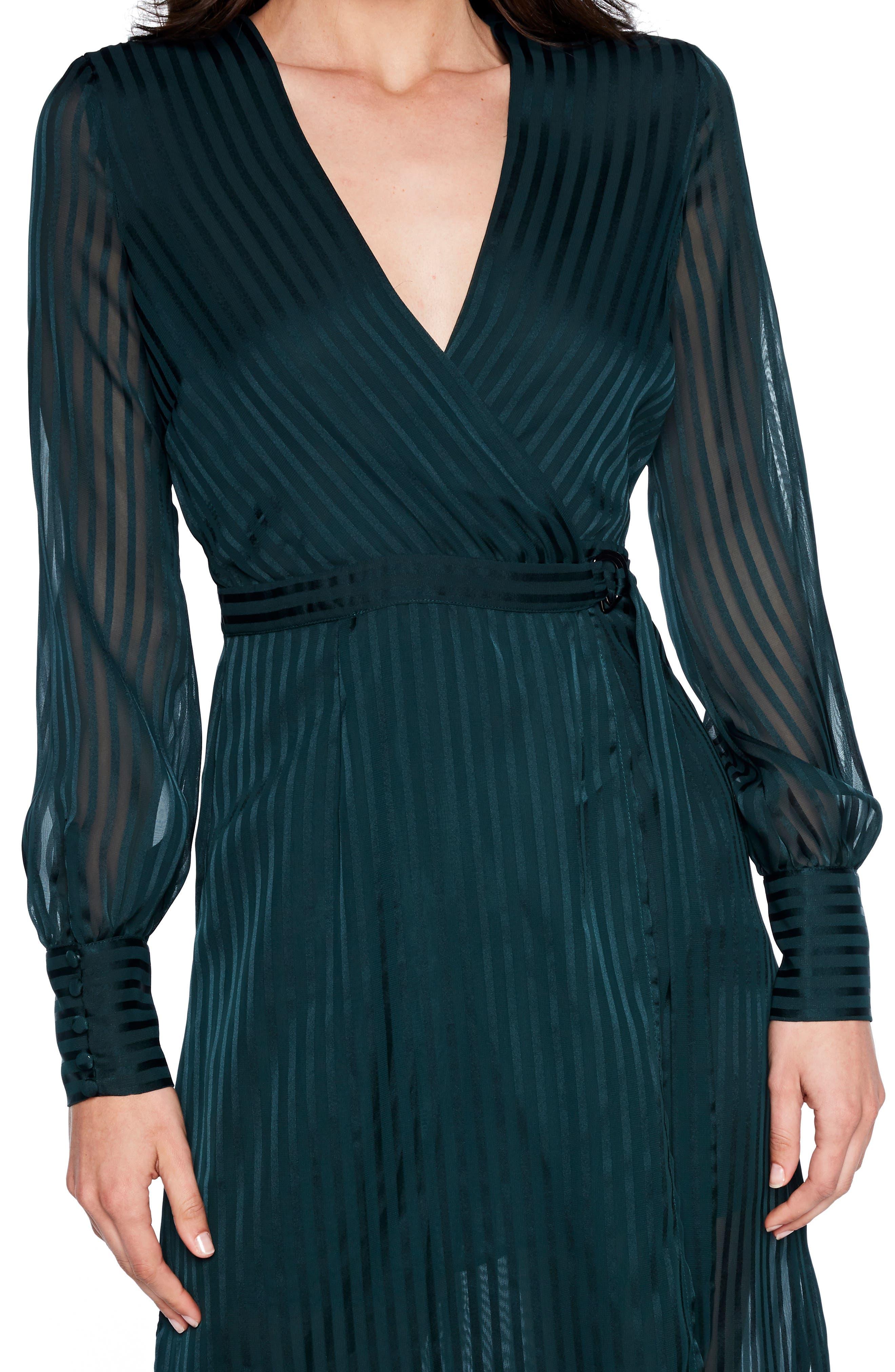 BARDOT, Shadow Stripe Faux Wrap Midi Dress, Alternate thumbnail 4, color, 309