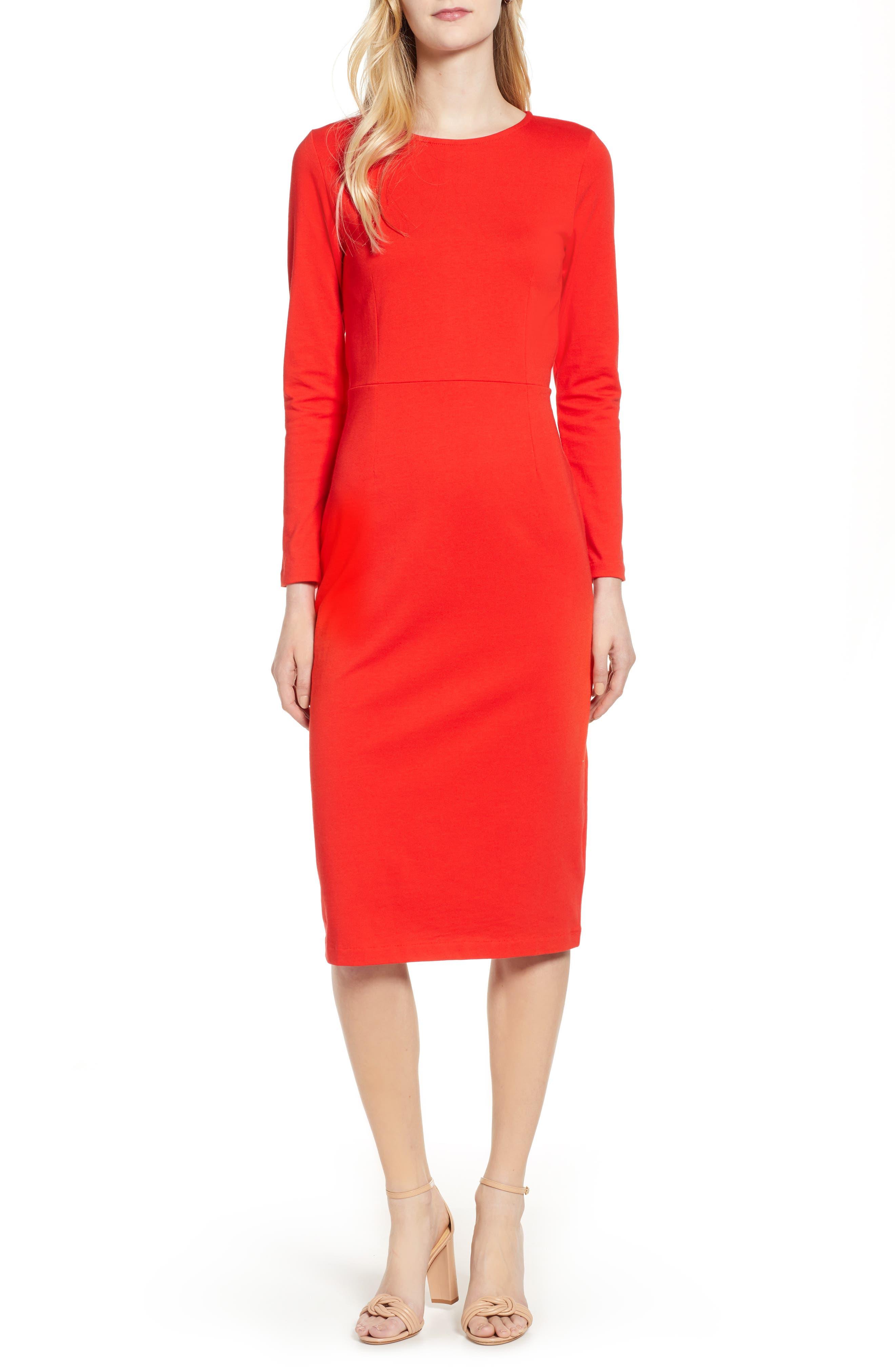 J.CREW, Knit Sheath Dress, Main thumbnail 1, color, BRIGHT CERISE