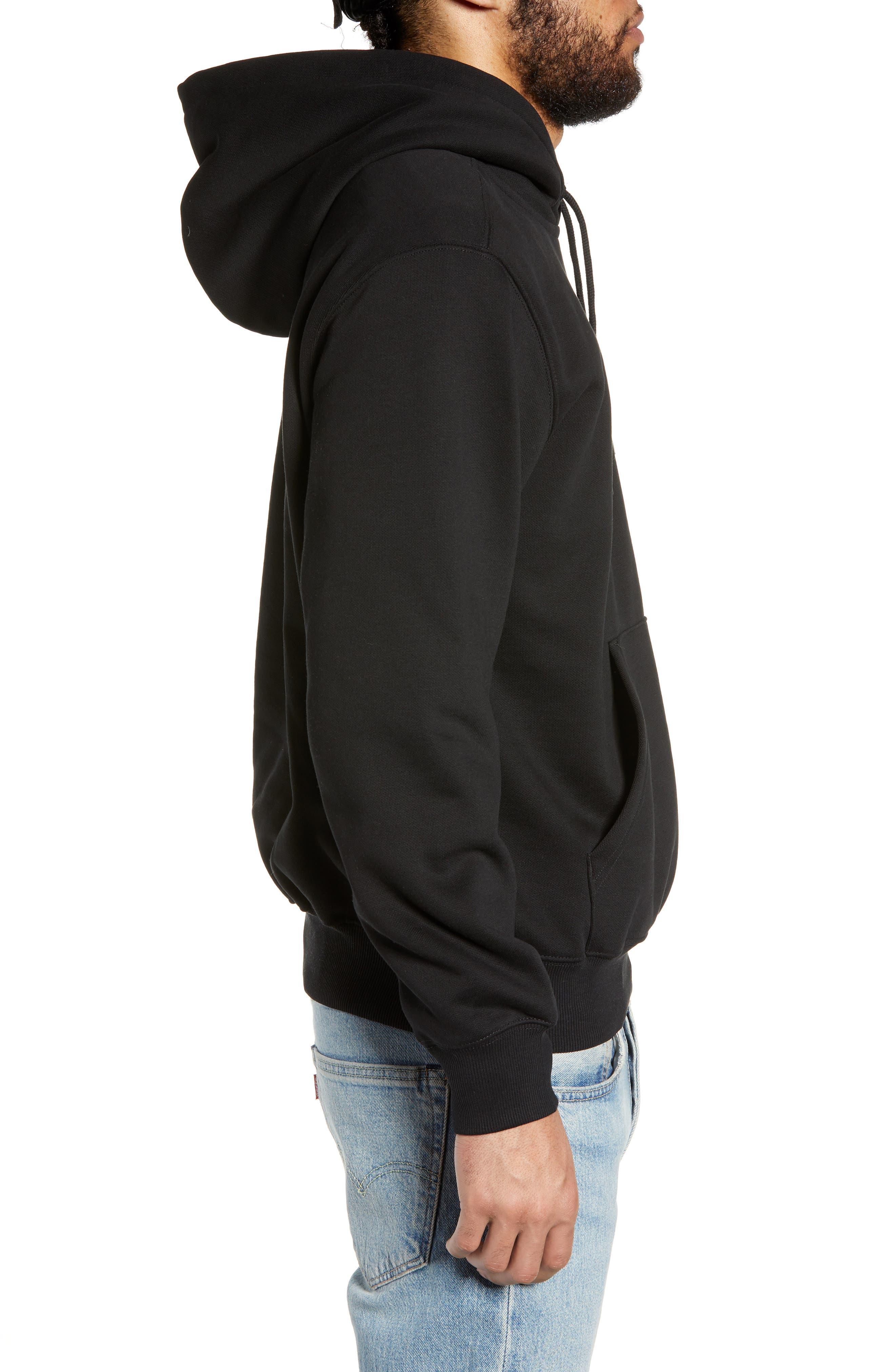CARHARTT WORK IN PROGRESS, Logo Embroidered Hooded Sweatshirt, Alternate thumbnail 3, color, BLACK / WHITE