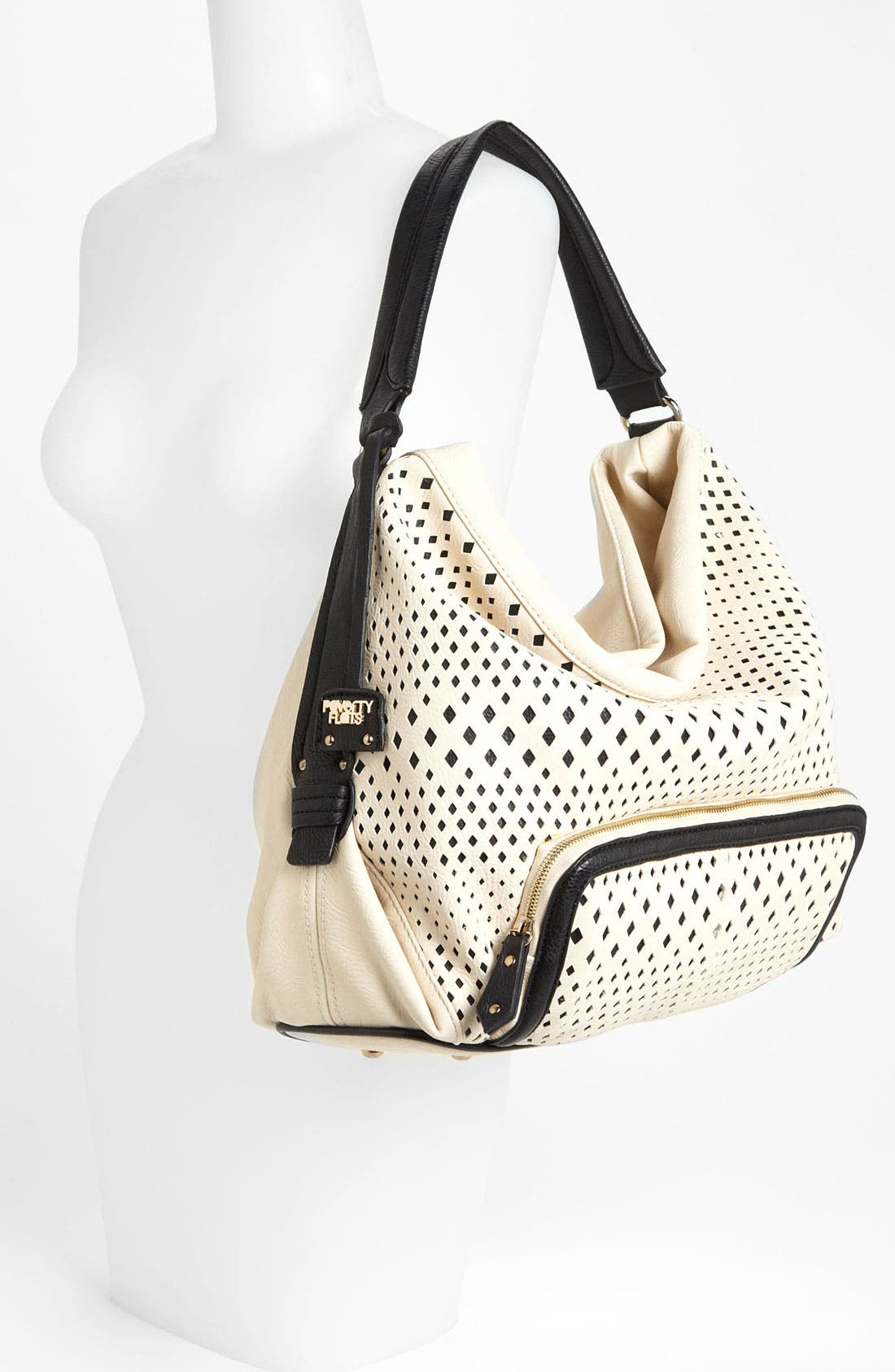 POVERTY FLATS BY RIAN, Perforated Faux Leather Shoulder Bag, Alternate thumbnail 2, color, 001