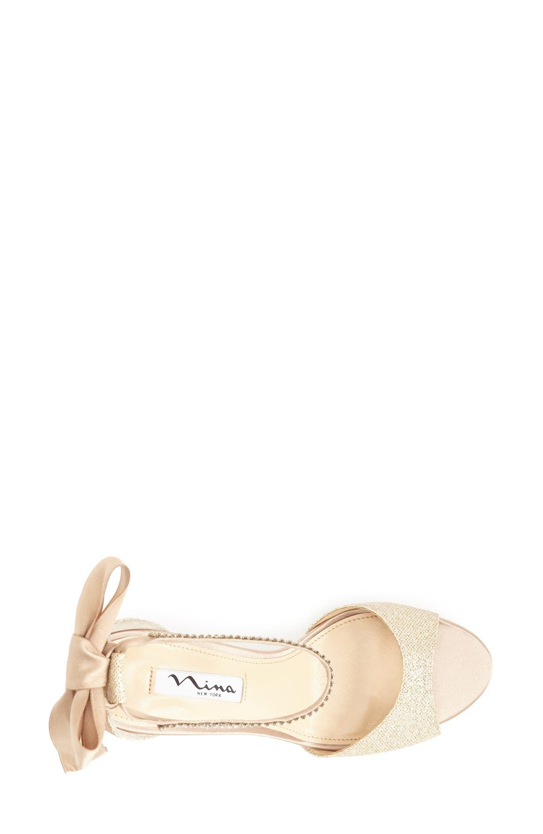 NINA, 'Vinnie' Crystal Embellished Ankle Strap Sandal, Alternate thumbnail 3, color, CHAMPAGNE GOLD