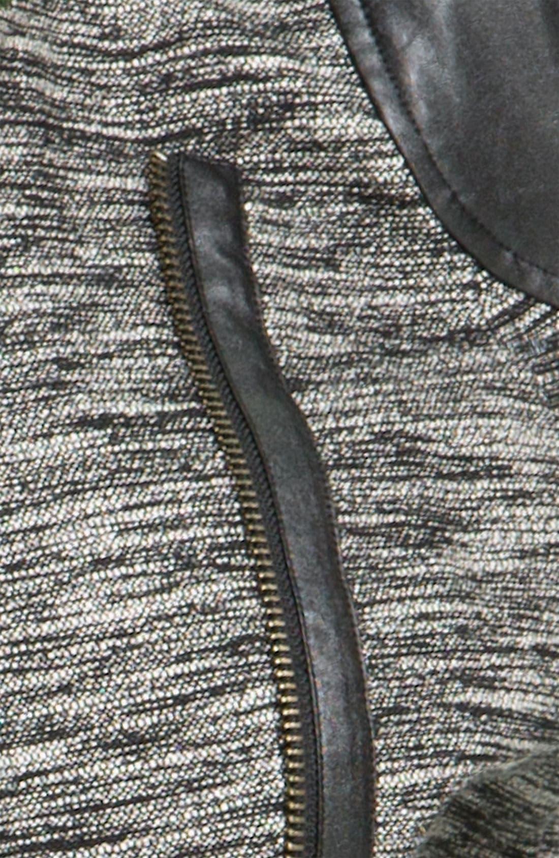 TROUVÉ, Faux Leather Sleeve Tweed Jacket, Alternate thumbnail 2, color, 001