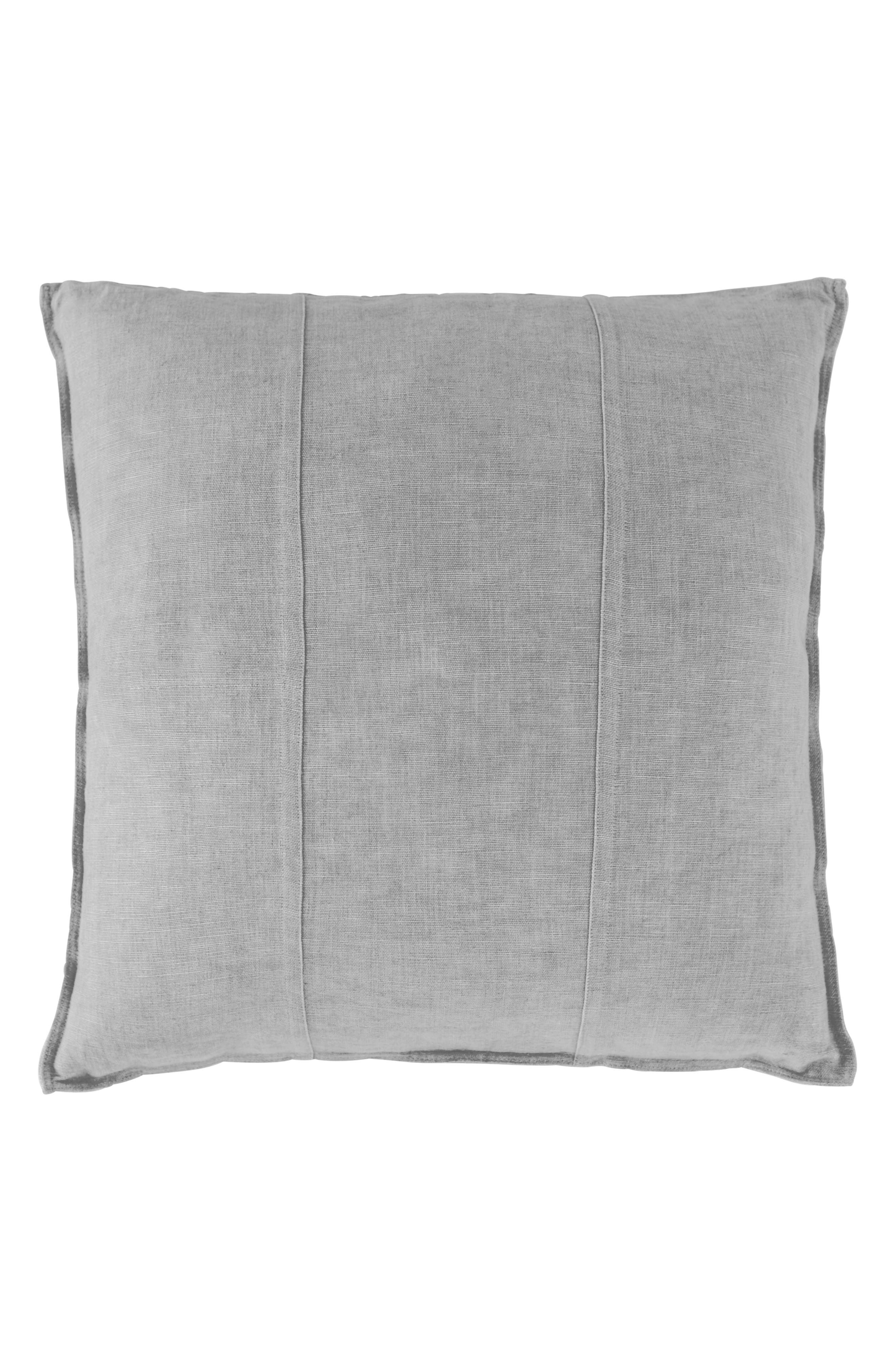 EADIE LIFESTYLE Luca Pre-Washed Linen Accent Pillow, Main, color, SILVER GREY