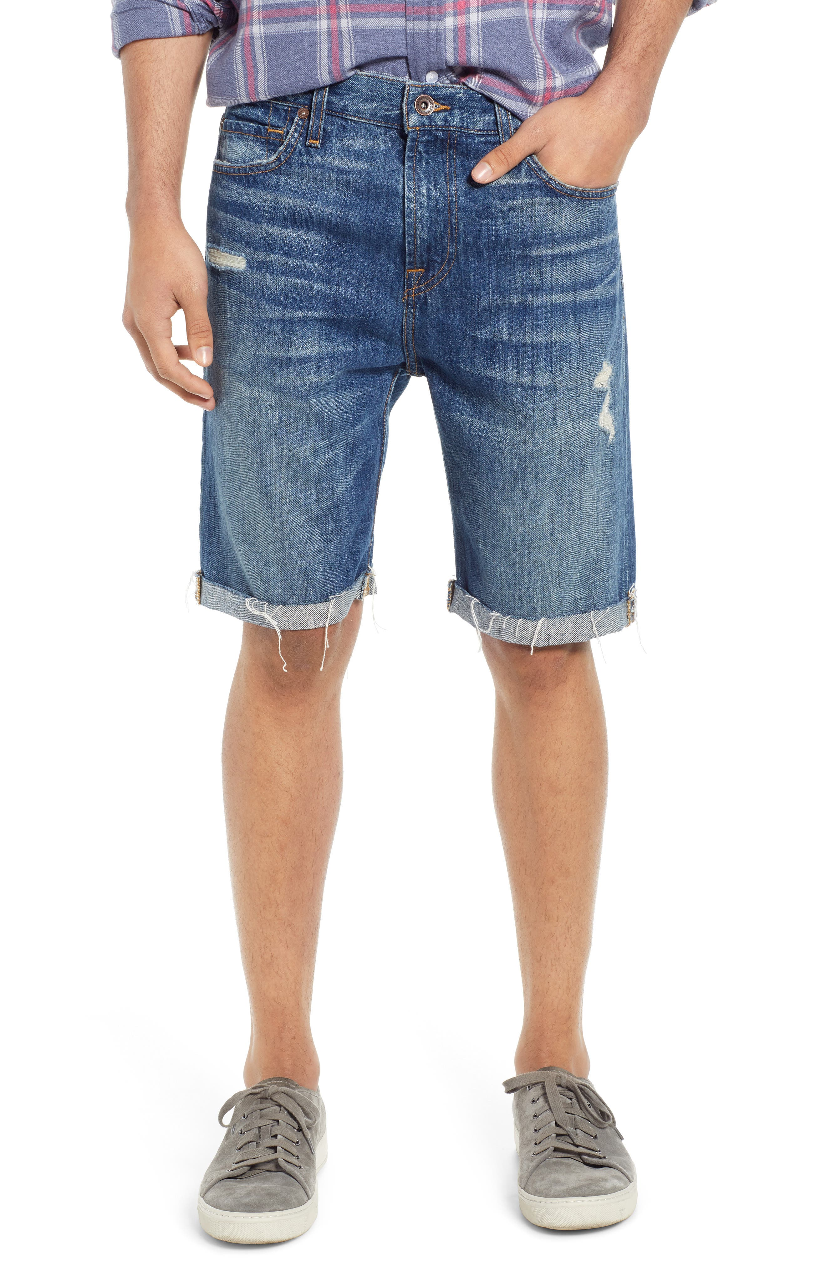 7 FOR ALL MANKIND<SUP>®</SUP>, Cutoff Denim Shorts, Main thumbnail 1, color, LEGEND DESTROYED