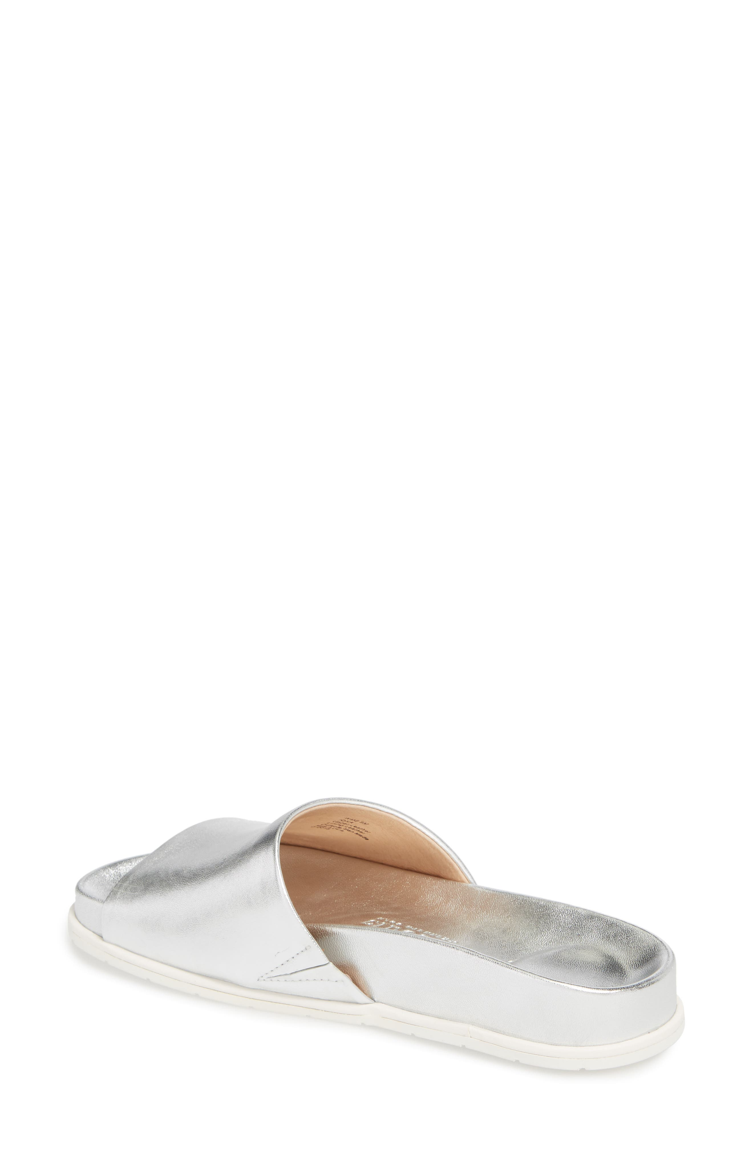 GENTLE SOULS BY KENNETH COLE, Iona Slide Sandal, Alternate thumbnail 2, color, SILVER METALLIC LEATHER