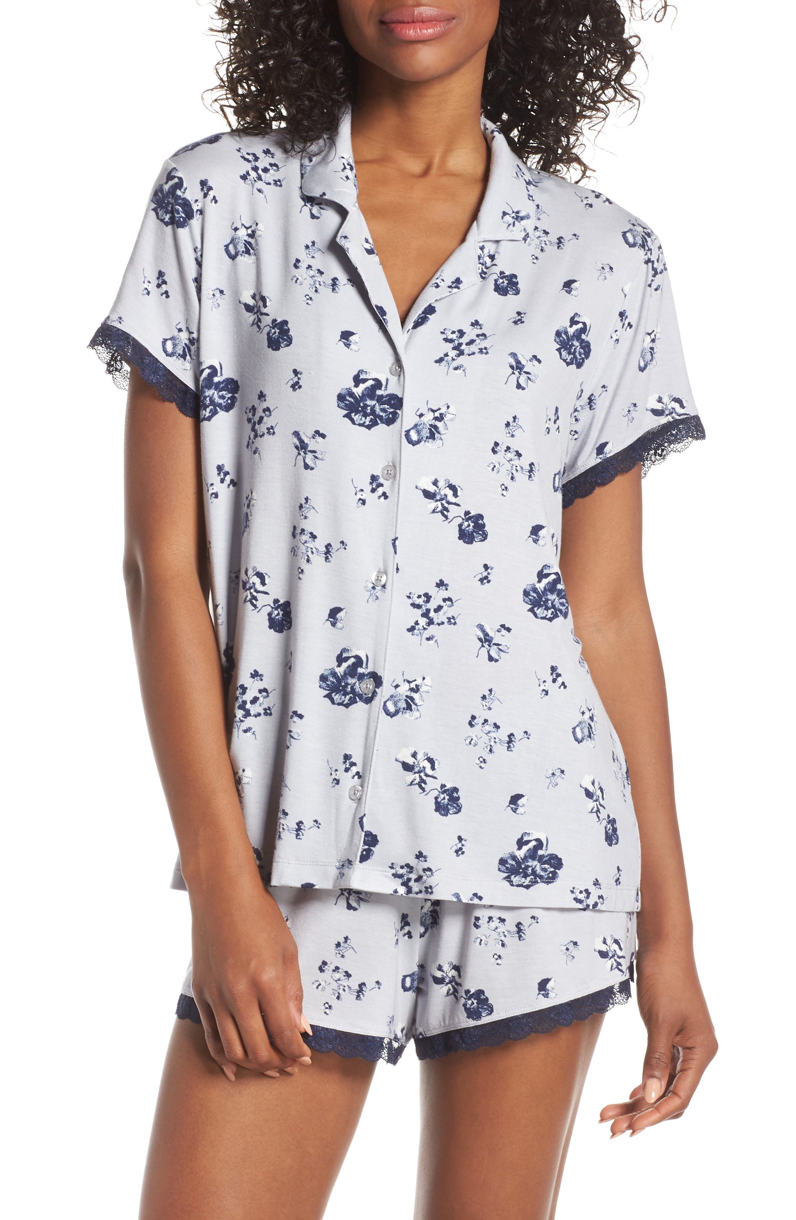 NORDSTROM LINGERIE Moonlight Short Pajamas, Main, color, GREY MICRO BLOOM