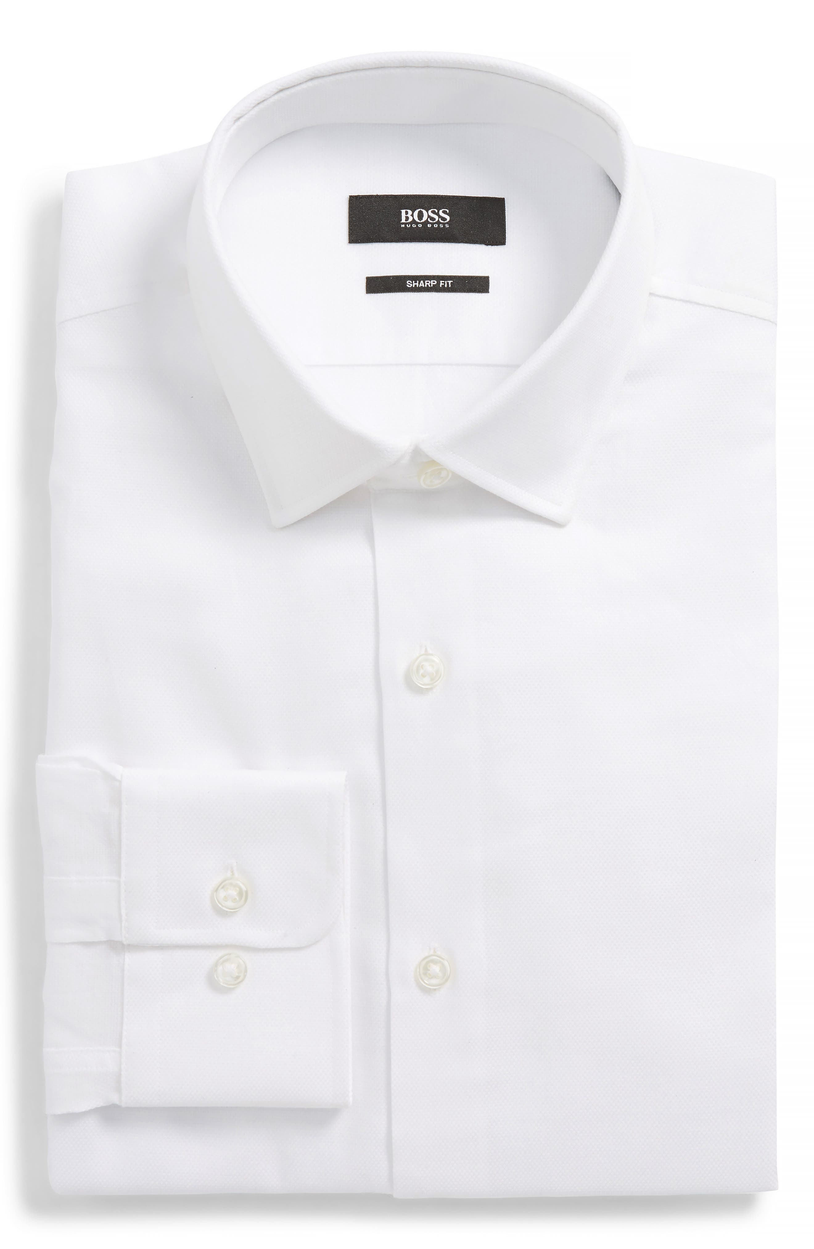 BOSS, Marley Sharp Fit Dress Shirt, Alternate thumbnail 5, color, WHITE