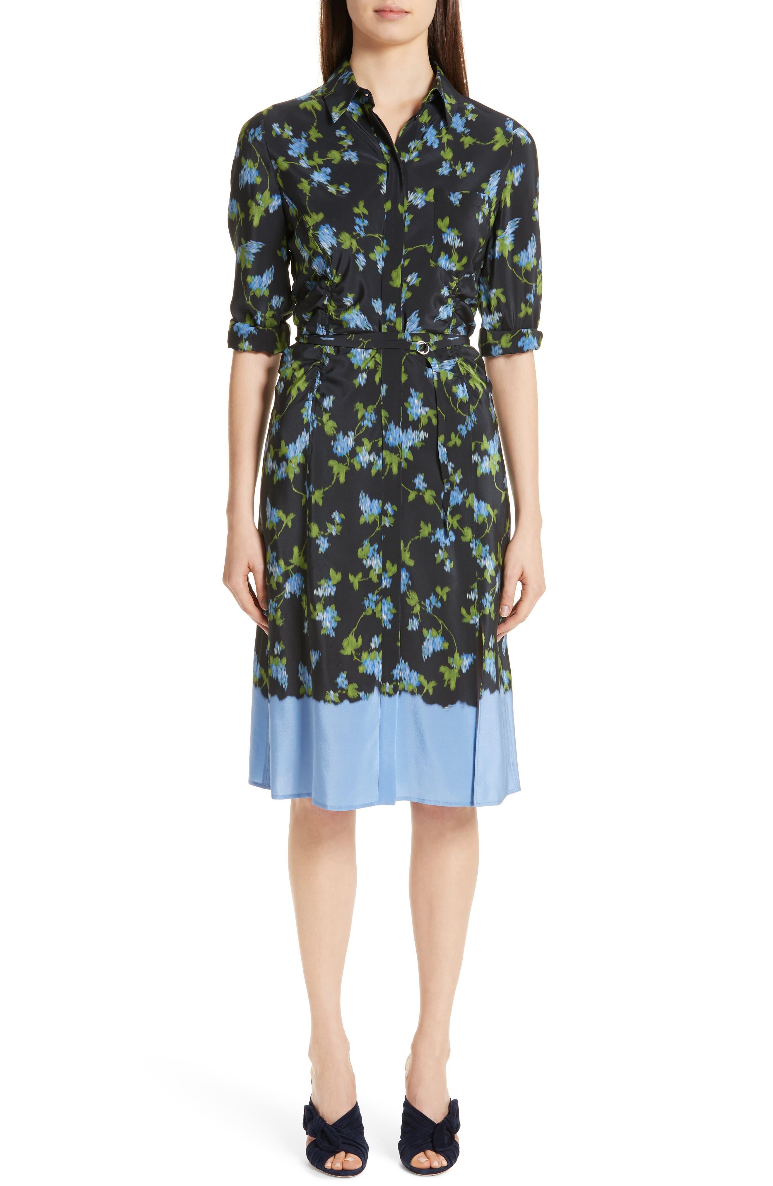 ALTUZARRA, Floral Print Silk Dress, Main thumbnail 1, color, BLACK