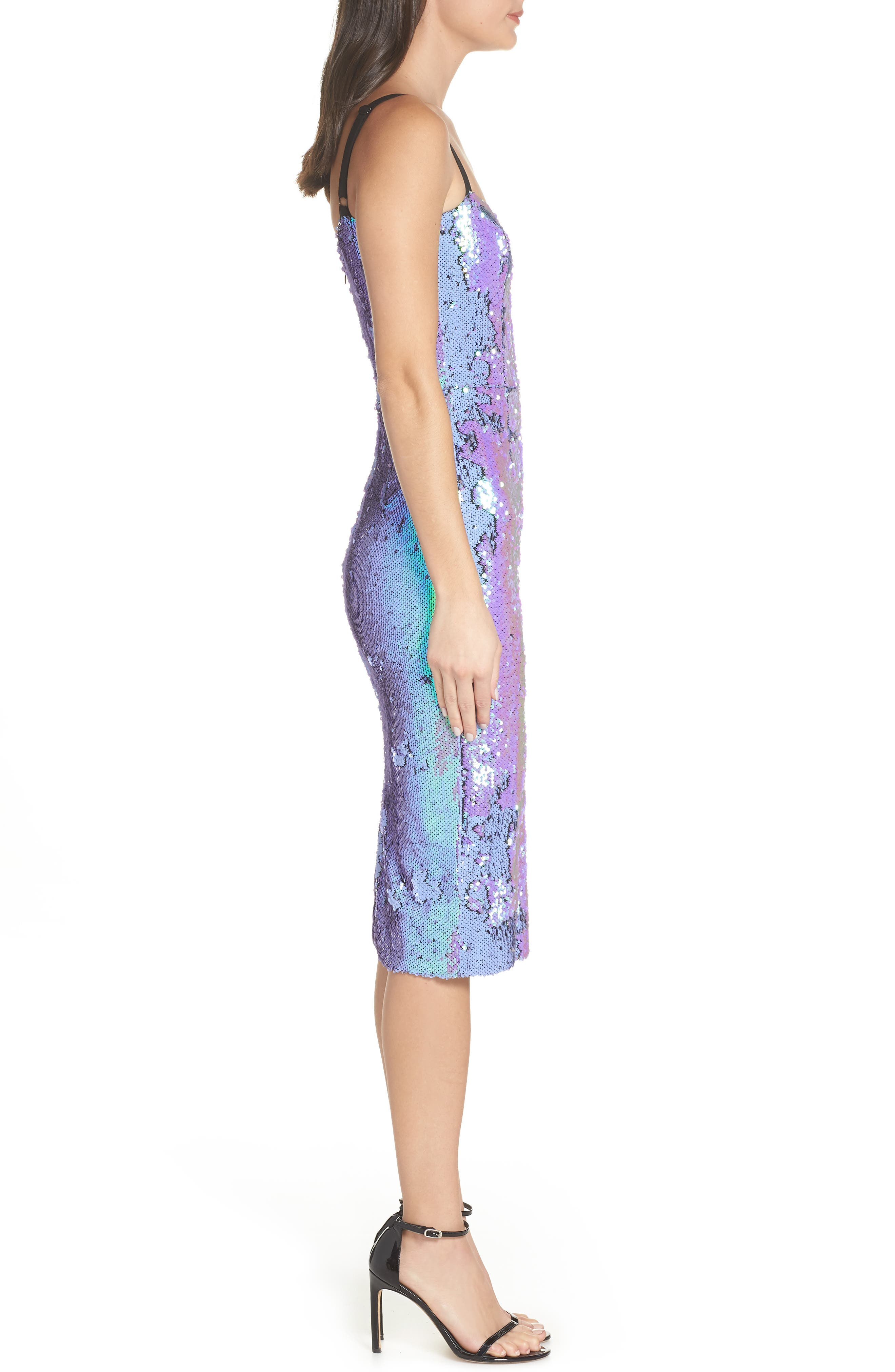 DRESS THE POPULATION, Lynda Iridescent Sequin Sheath Dress, Alternate thumbnail 4, color, ULTRA VIOLET