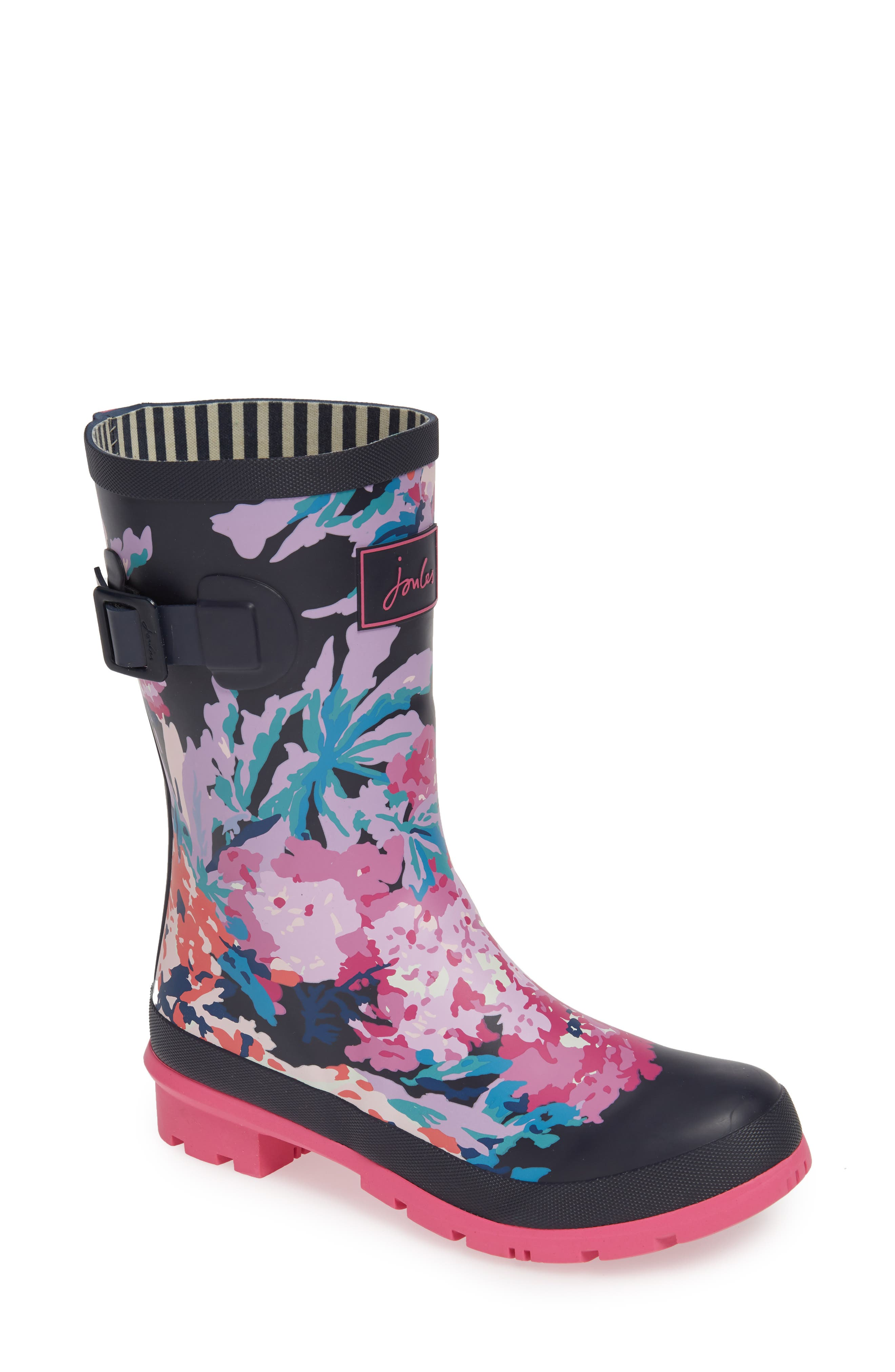 JOULES, 'Molly' Rain Boot, Main thumbnail 1, color, NAVY ALL OVER FLORAL