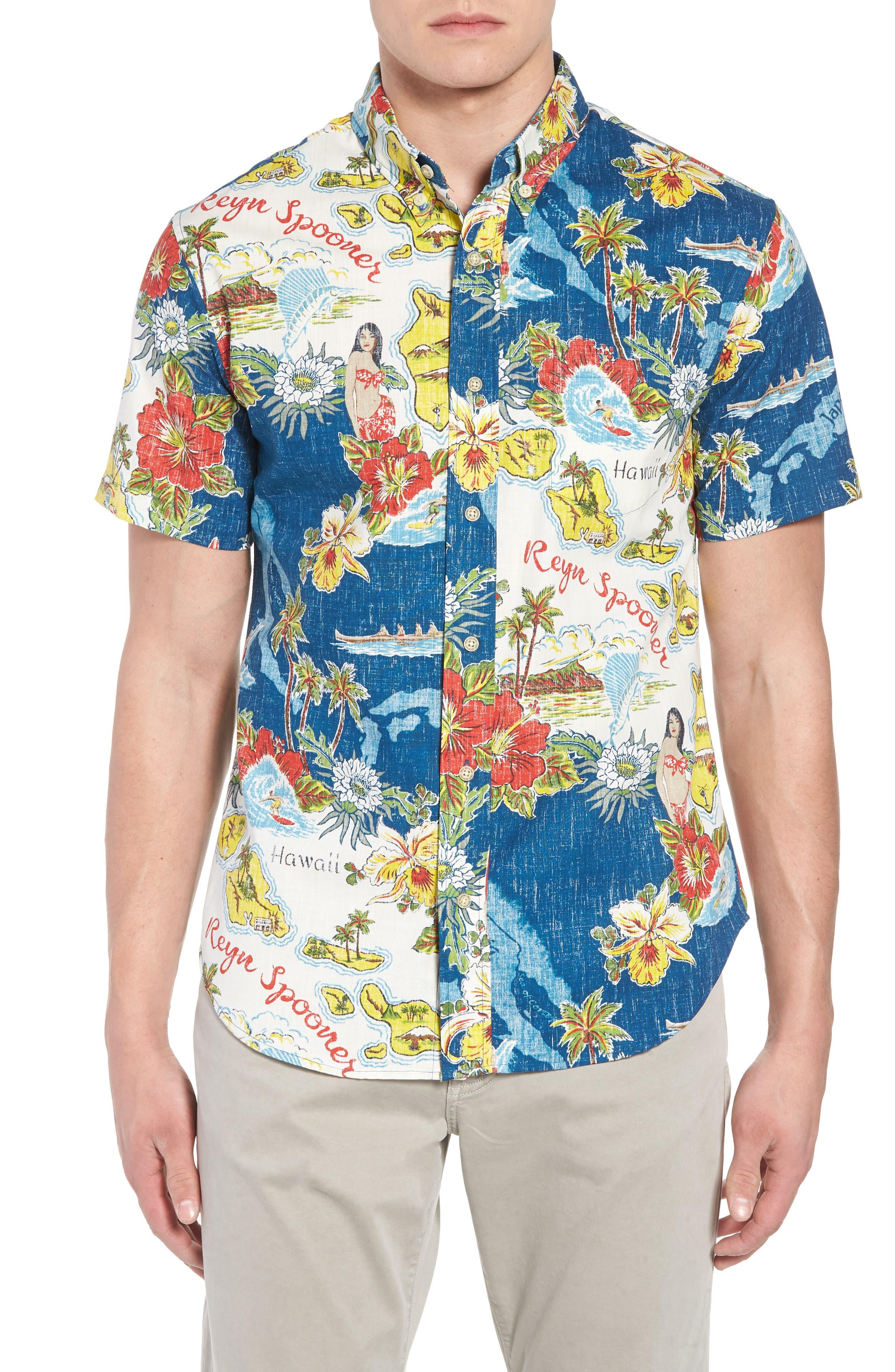 REYN SPOONER Status Oceanic Tailored Fit Print Sport Shirt, Main, color, NAVY