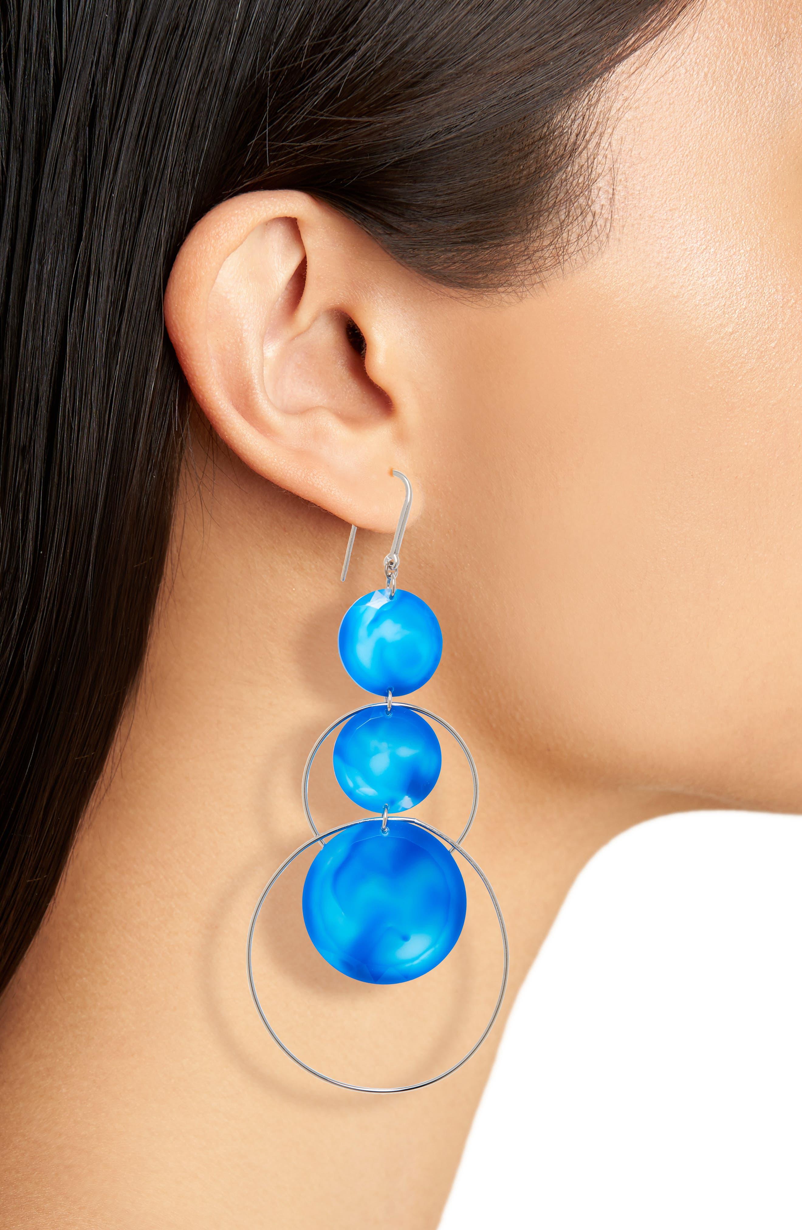 ISABEL MARANT, Harlem Circle Drop Earrings, Alternate thumbnail 2, color, BLUE