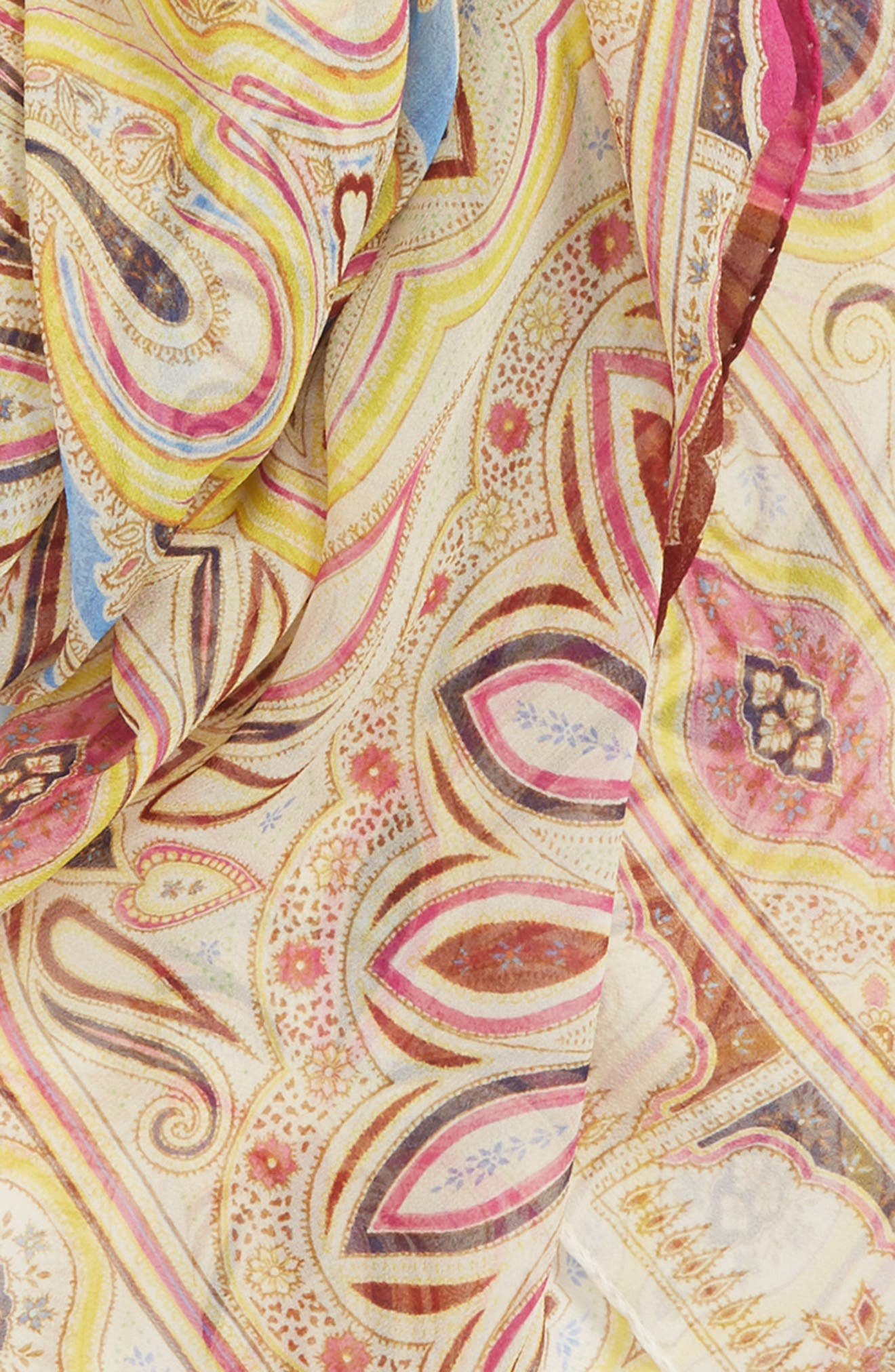 ETRO, Bombay Square Silk Scarf, Alternate thumbnail 3, color, RED