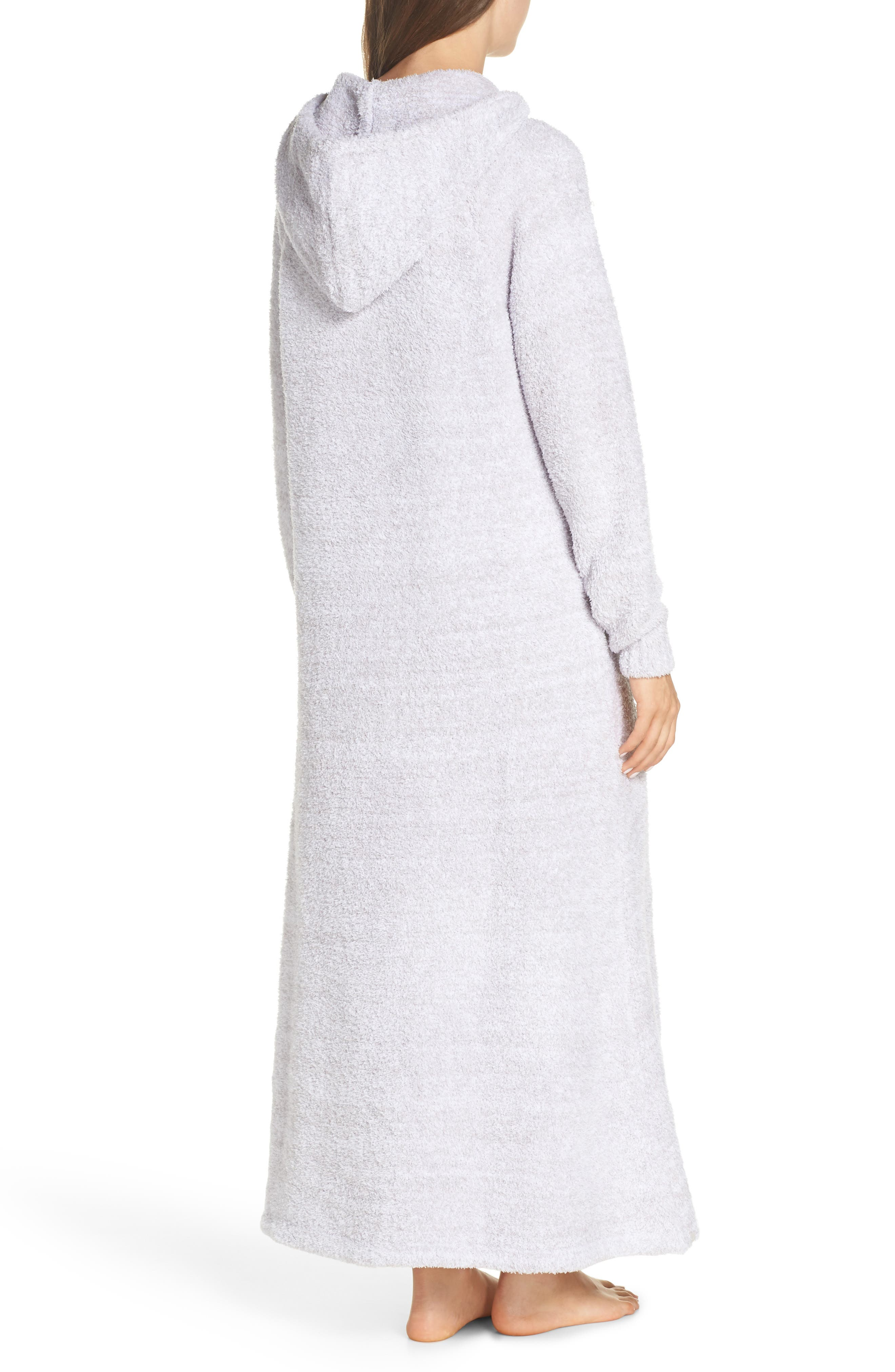 BAREFOOT DREAMS<SUP>®</SUP>, CozyChic<sup>®</sup> Hooded Zip Robe, Alternate thumbnail 2, color, OYSTER/ WHITE
