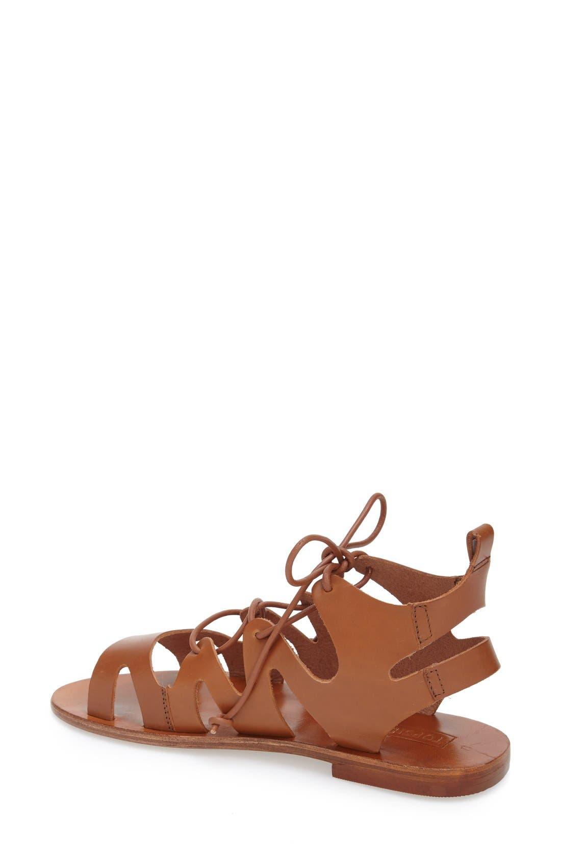 TOPSHOP, 'Fig' Cutout Lace-Up Gladiator Sandal, Alternate thumbnail 3, color, 210
