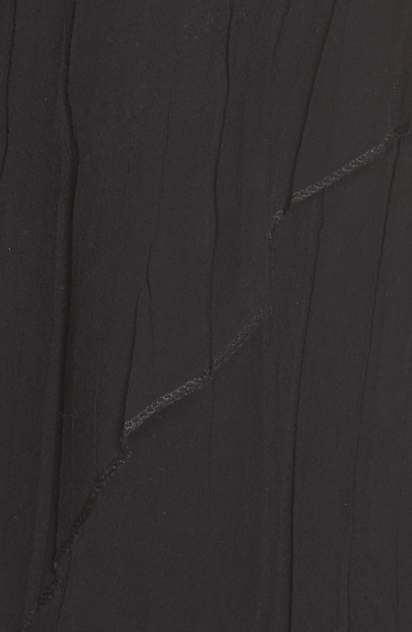 KOMAROV, Bead Trim Chiffon Dress with Wrap, Alternate thumbnail 6, color, BLACK