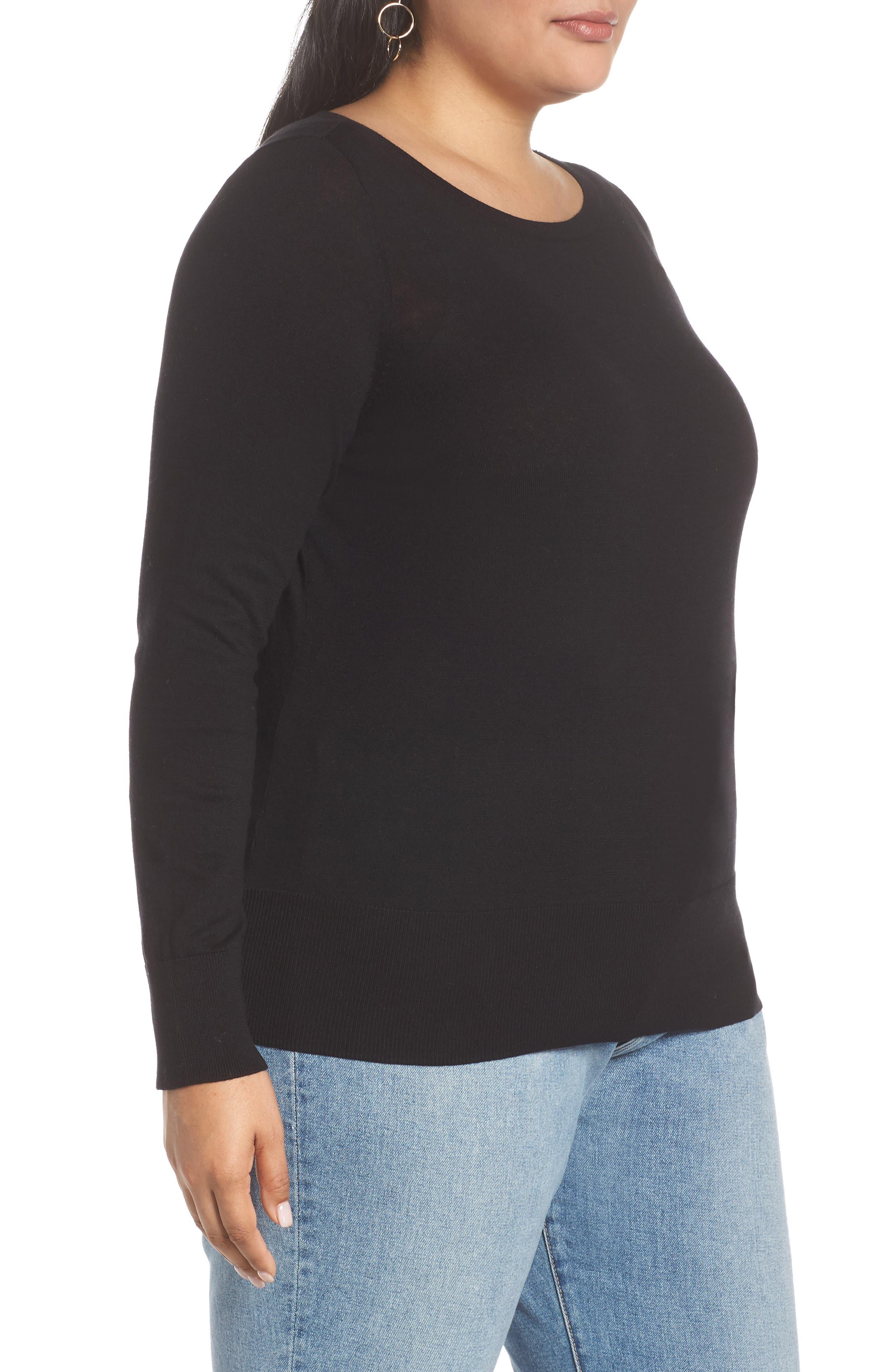 HALOGEN<SUP>®</SUP>, Bateau Neck Sweater, Alternate thumbnail 3, color, BLACK