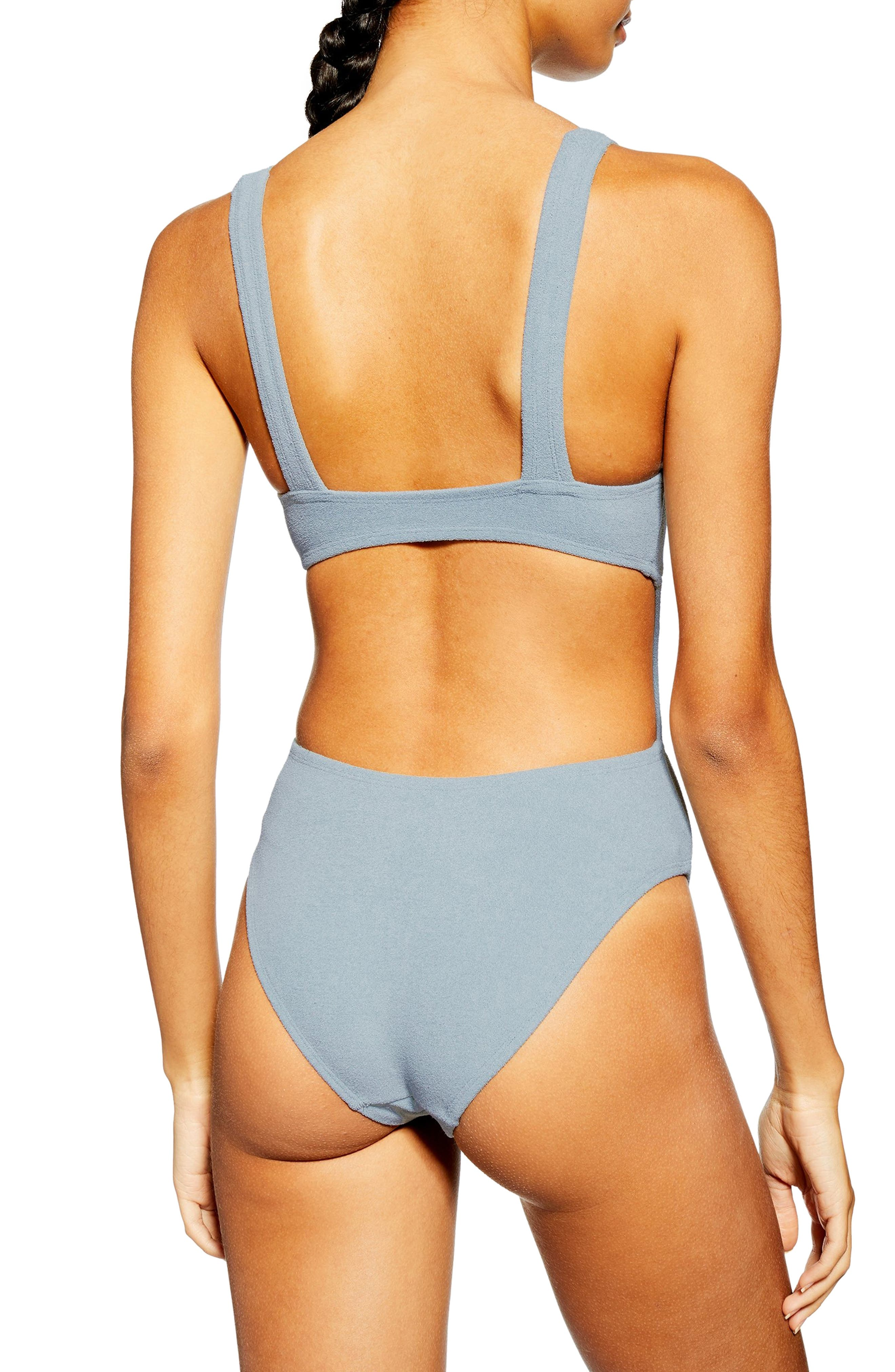 TOPSHOP, Knot Velour One-Piece Swimsuit, Alternate thumbnail 2, color, GREY