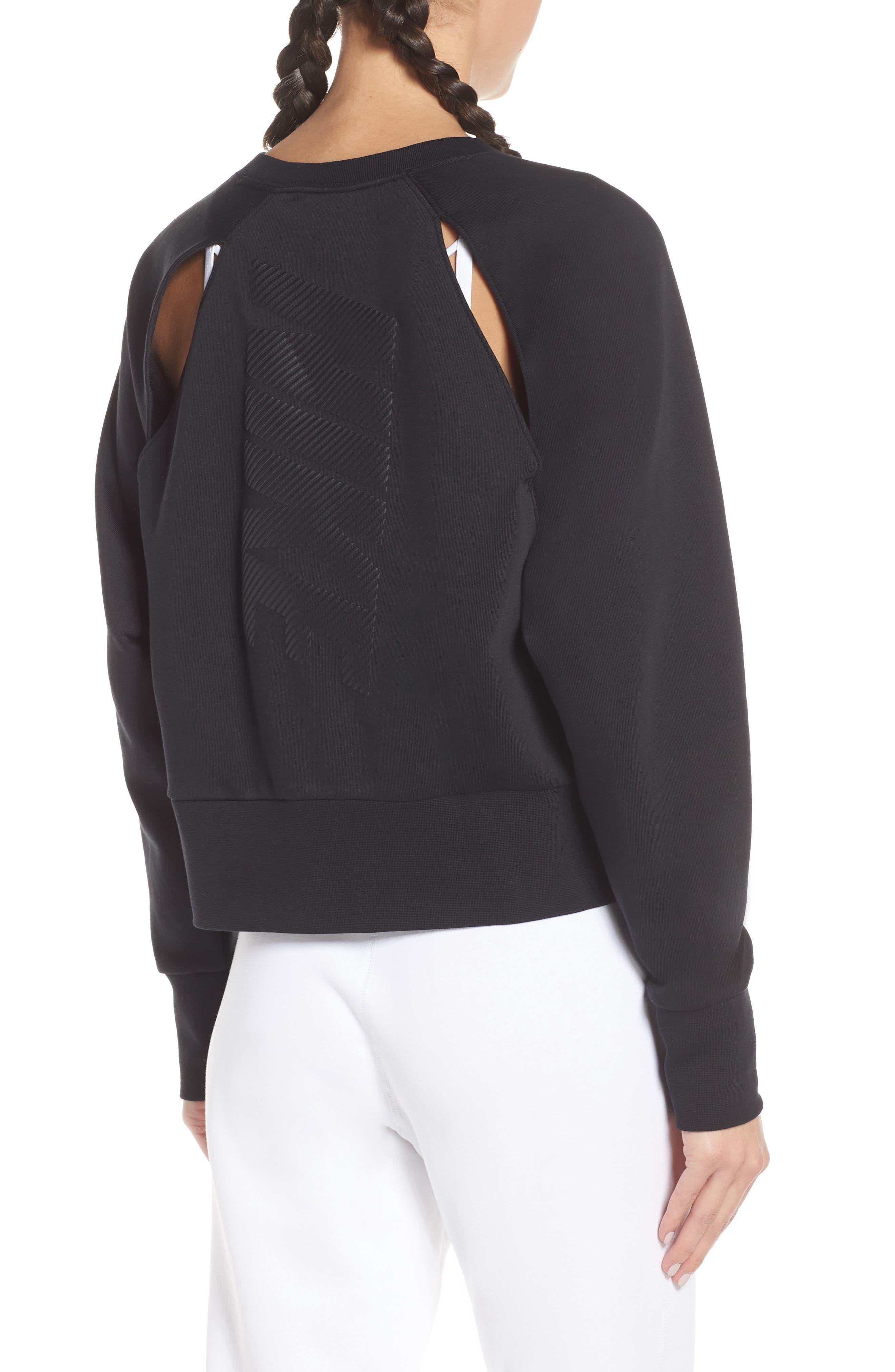 NIKE, Dry Cropped Training Sweatshirt, Alternate thumbnail 2, color, BLACK/ WHITE