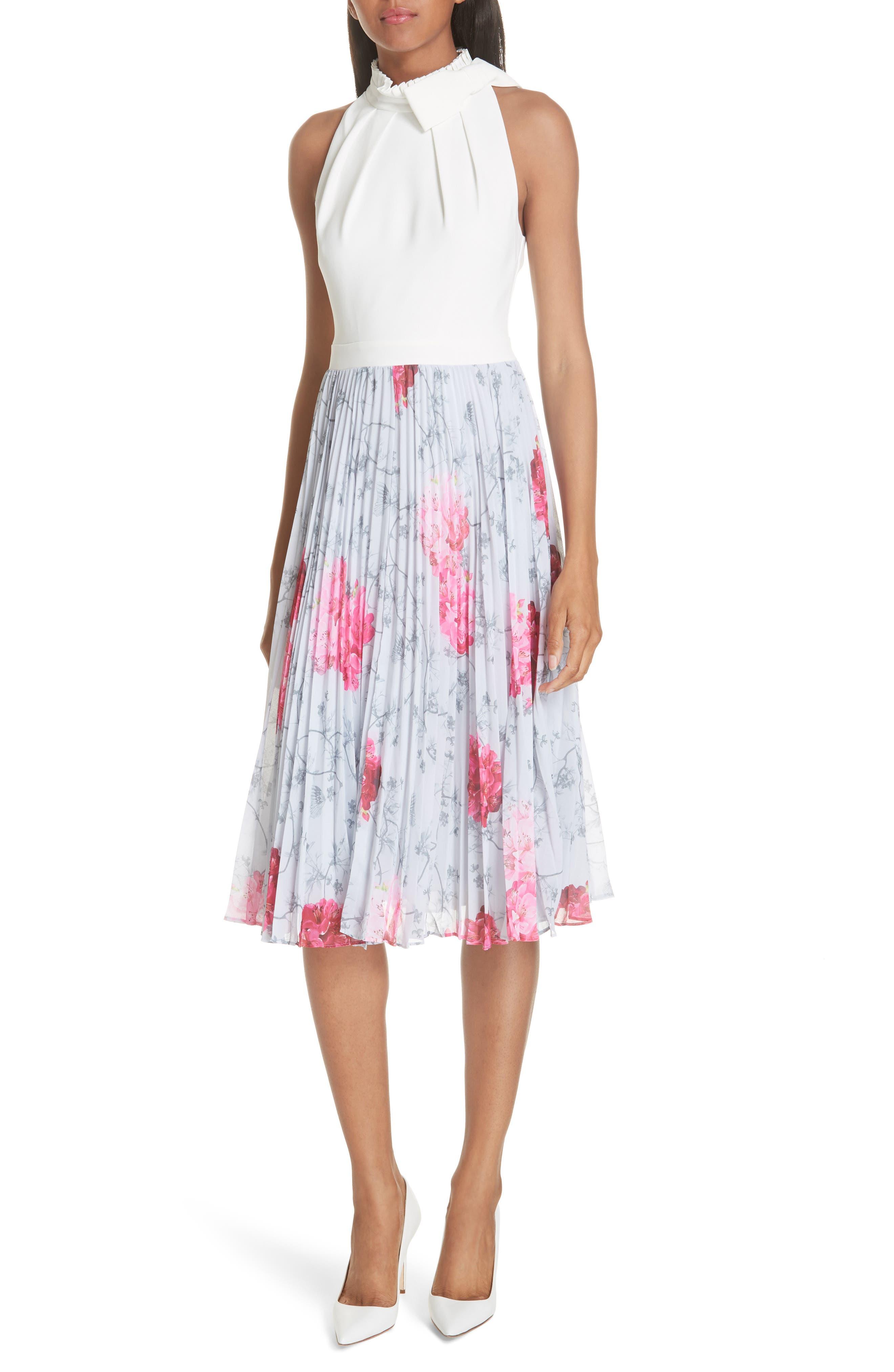 Ted Baker London Babylon Pleat A-Line Dress, Grey