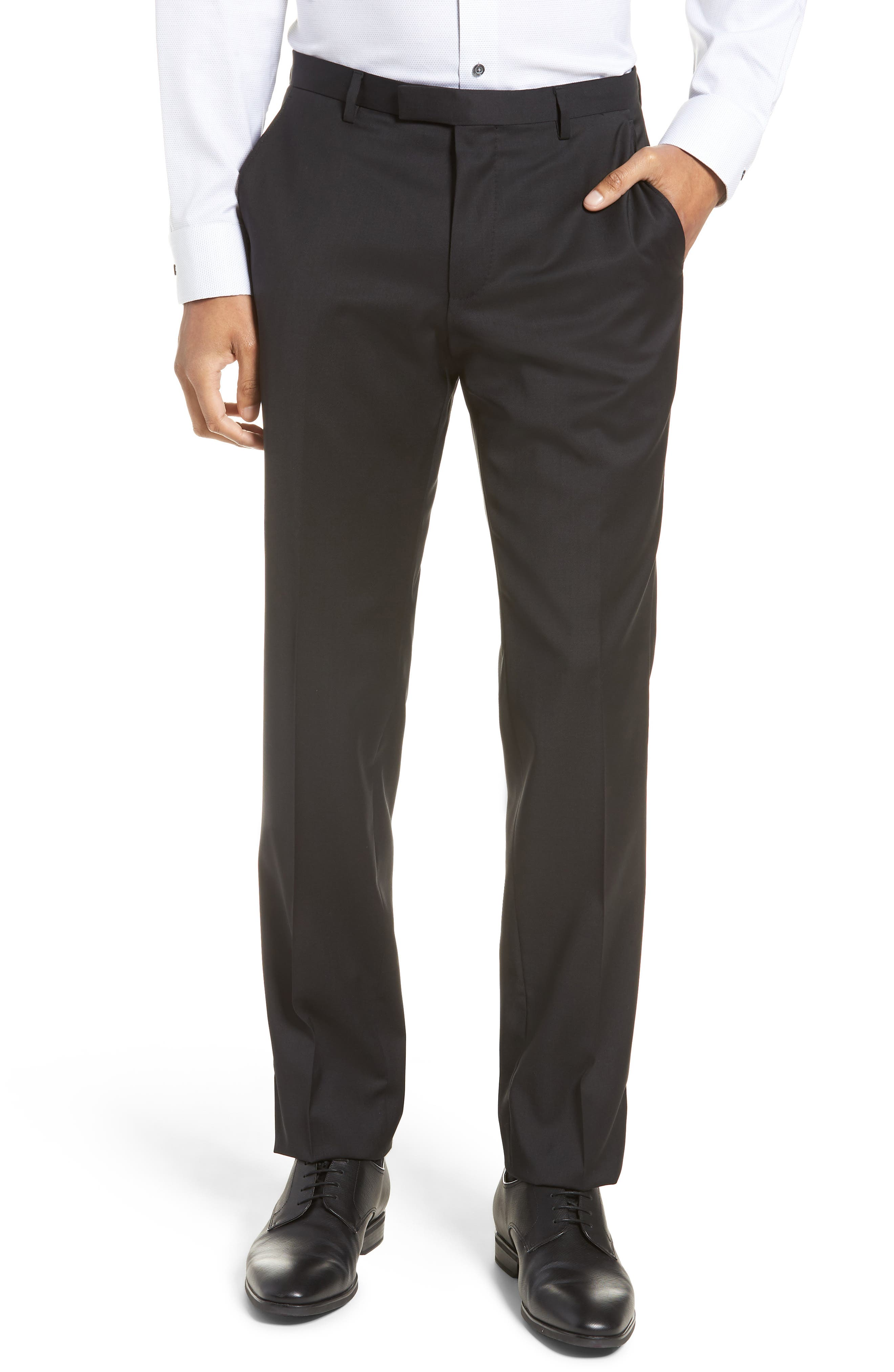 BOSS, Johnstons/Lenon Classic Fit Solid Wool Suit, Alternate thumbnail 6, color, BLACK