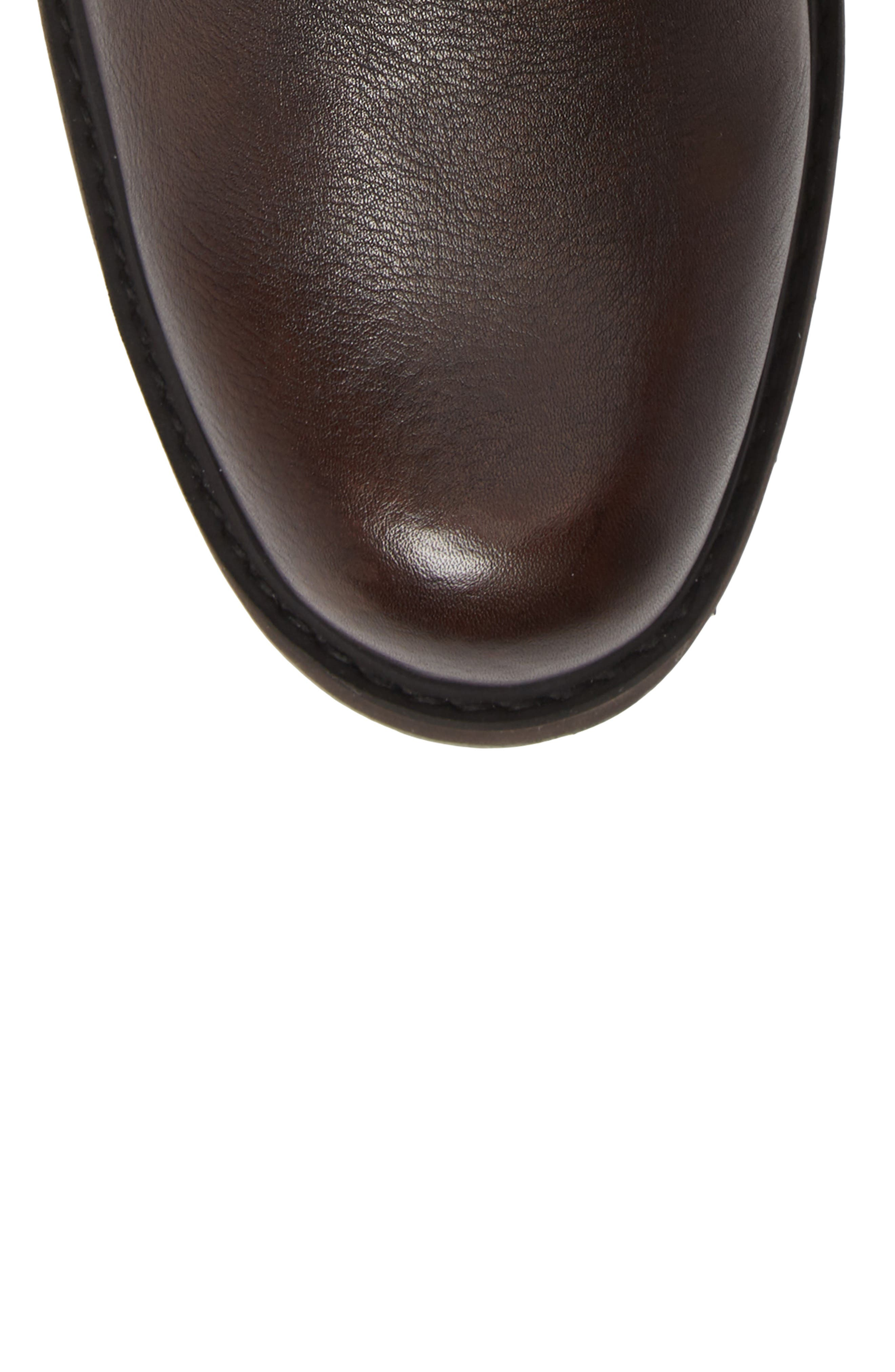 REACTION KENNETH COLE, Drue Pebbled Combat Boot, Alternate thumbnail 5, color, BROWN LEATHER